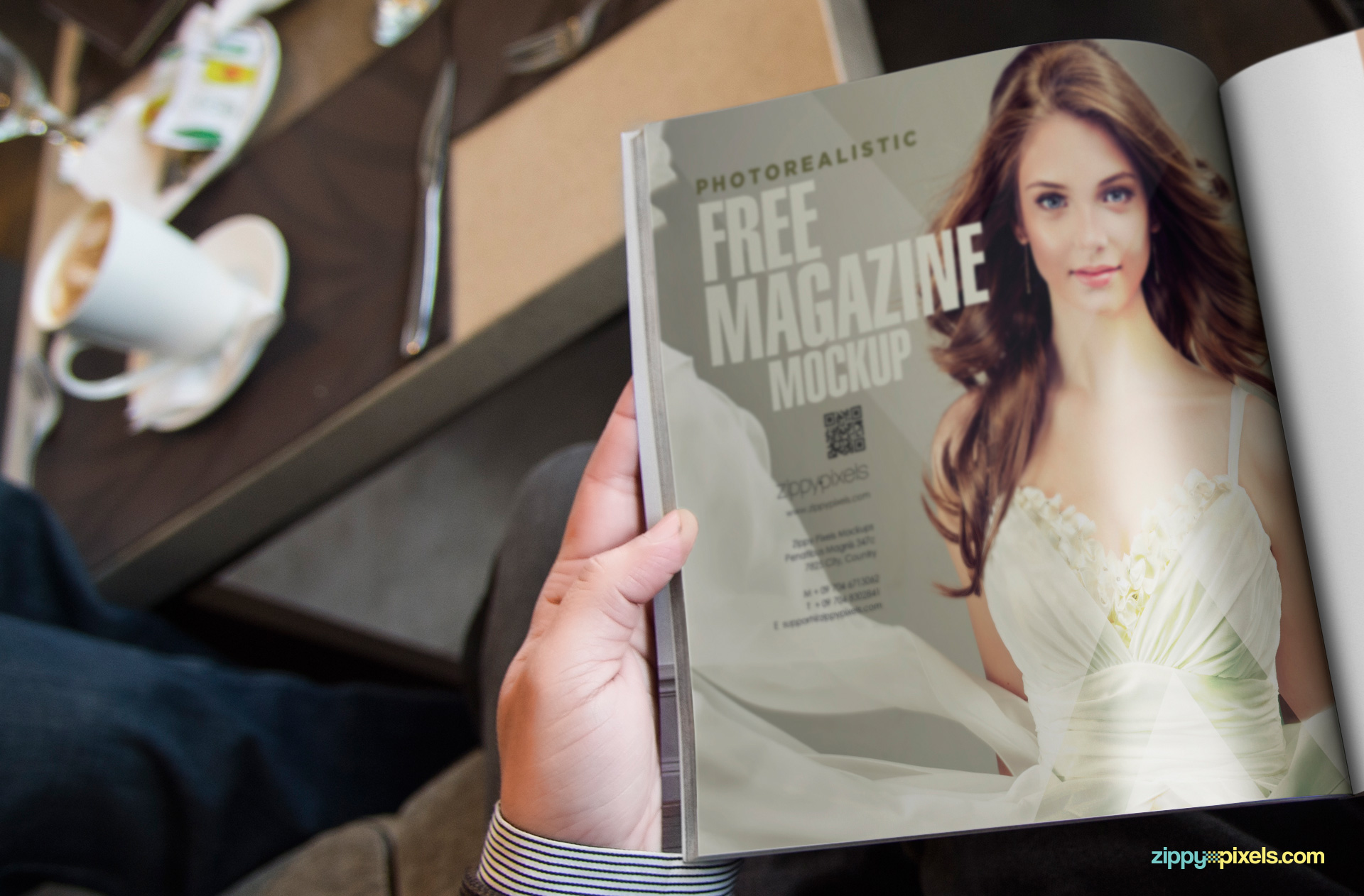 Show you magazine more realistically in the hands of a man.