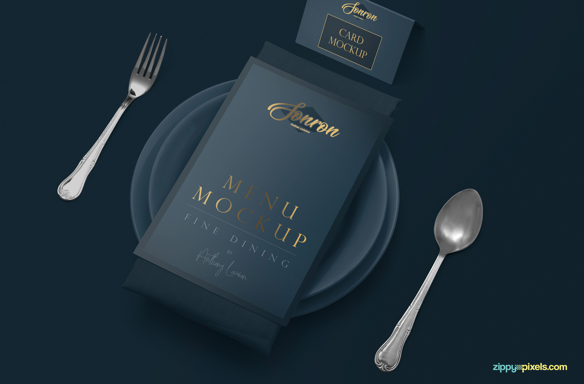 Menu card mockup scene with customizable plate, napkin, table card and cutlery.