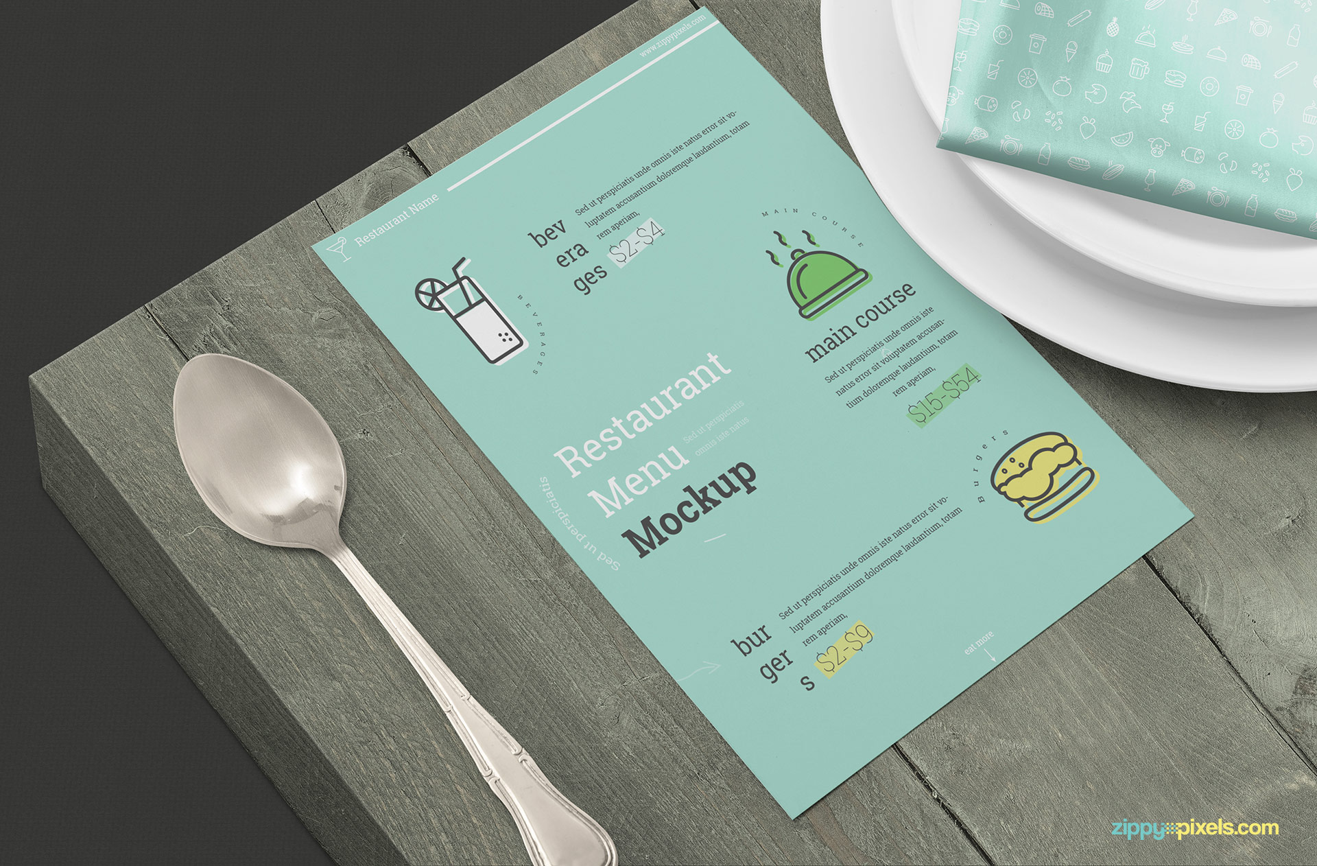 Menu mockup scene with a wooden background.