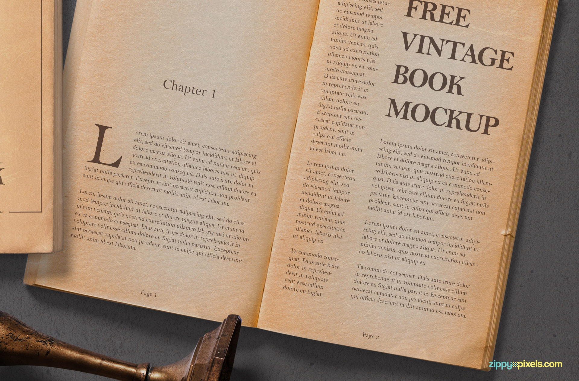 Open book mockup with vintage effect.