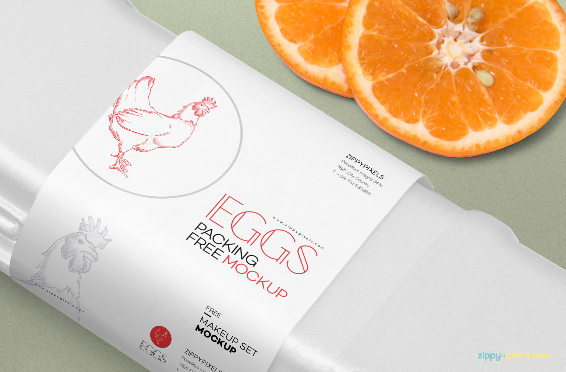 Packaging sleeve of the egg mockup.