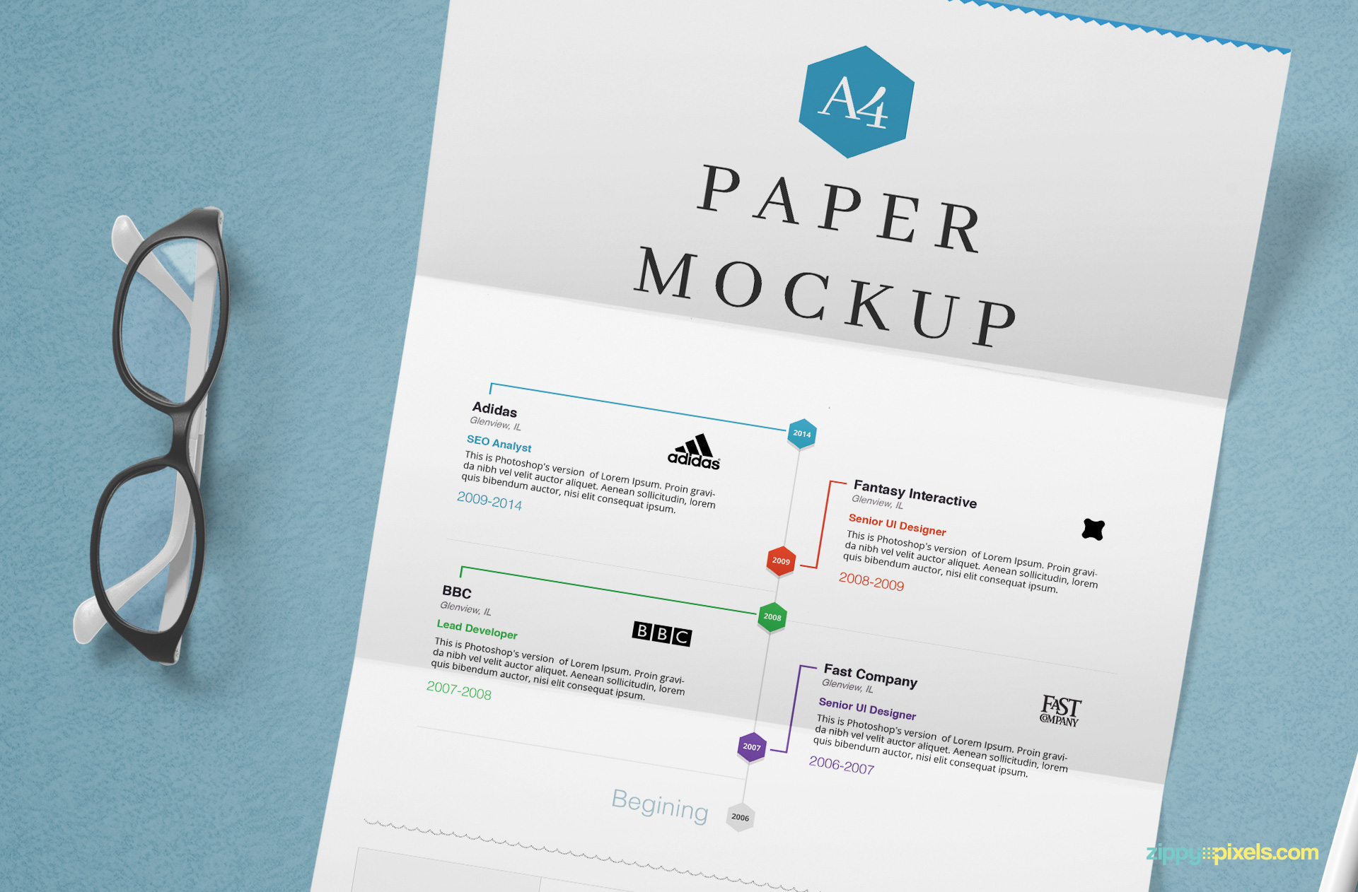 A4 size paper mockup.