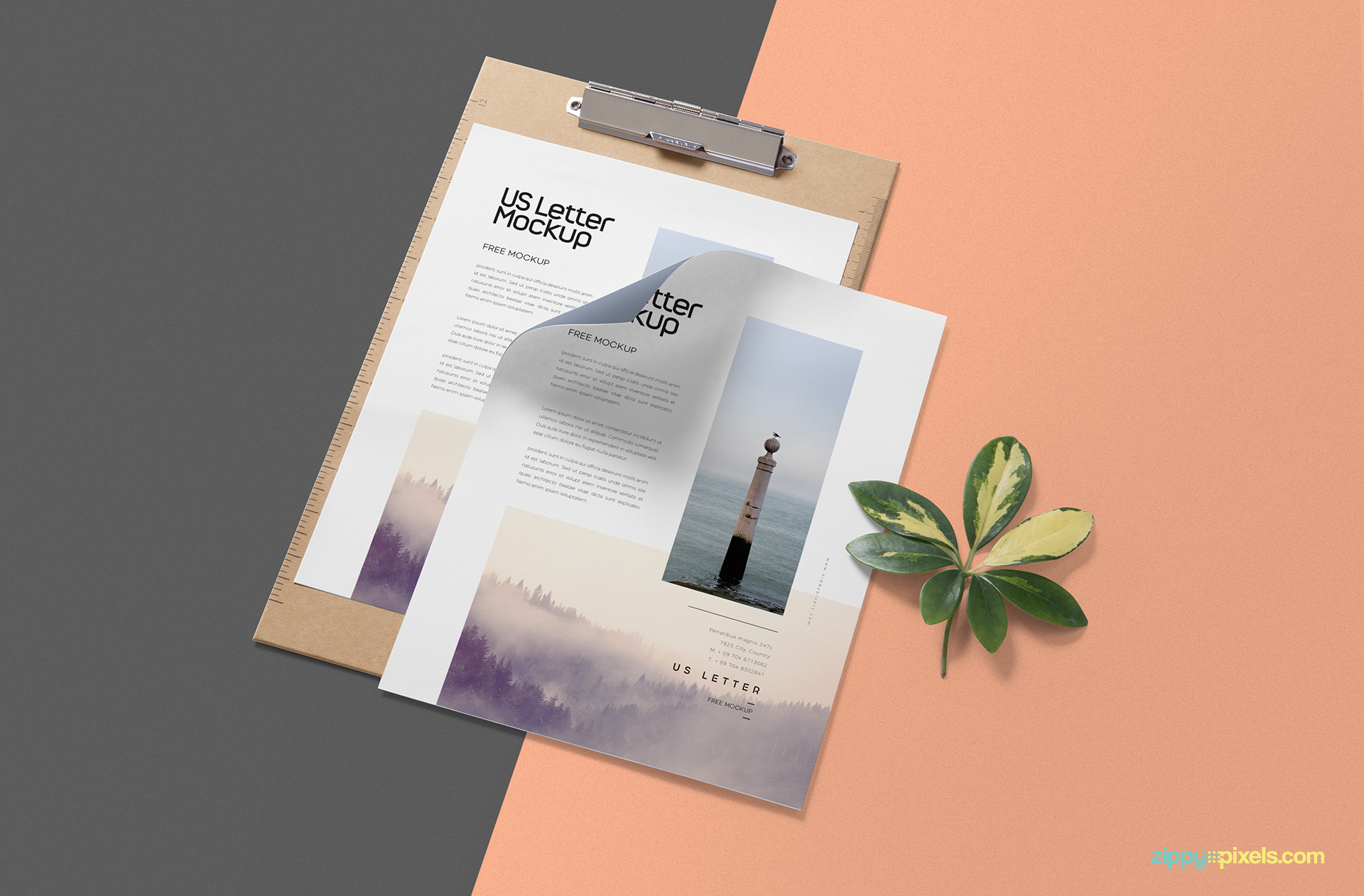 Free paper mockup with a clipboard.