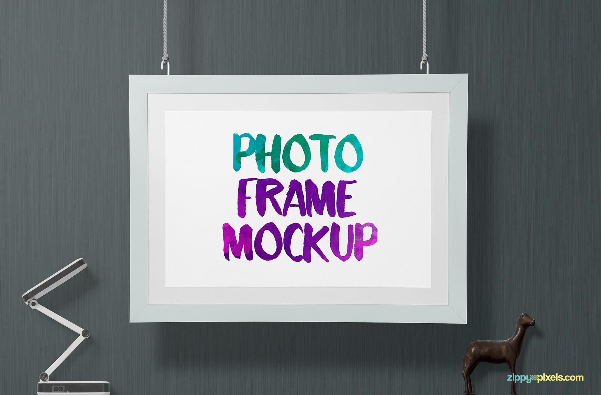 Free photo frame mockup PSD.