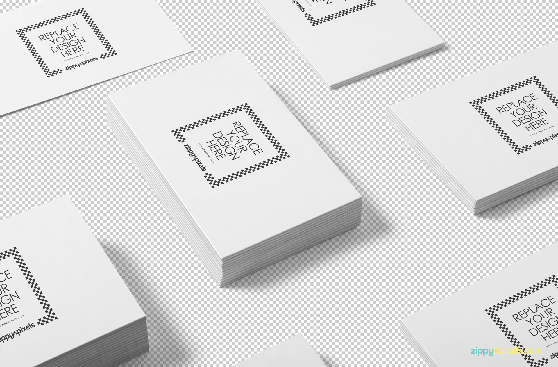 Use Photoshop to replace the design of the business card mockup.