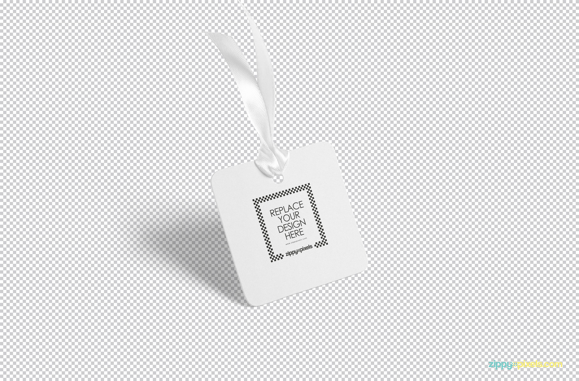 Use Photoshop to replace the design of this free tag mockup.