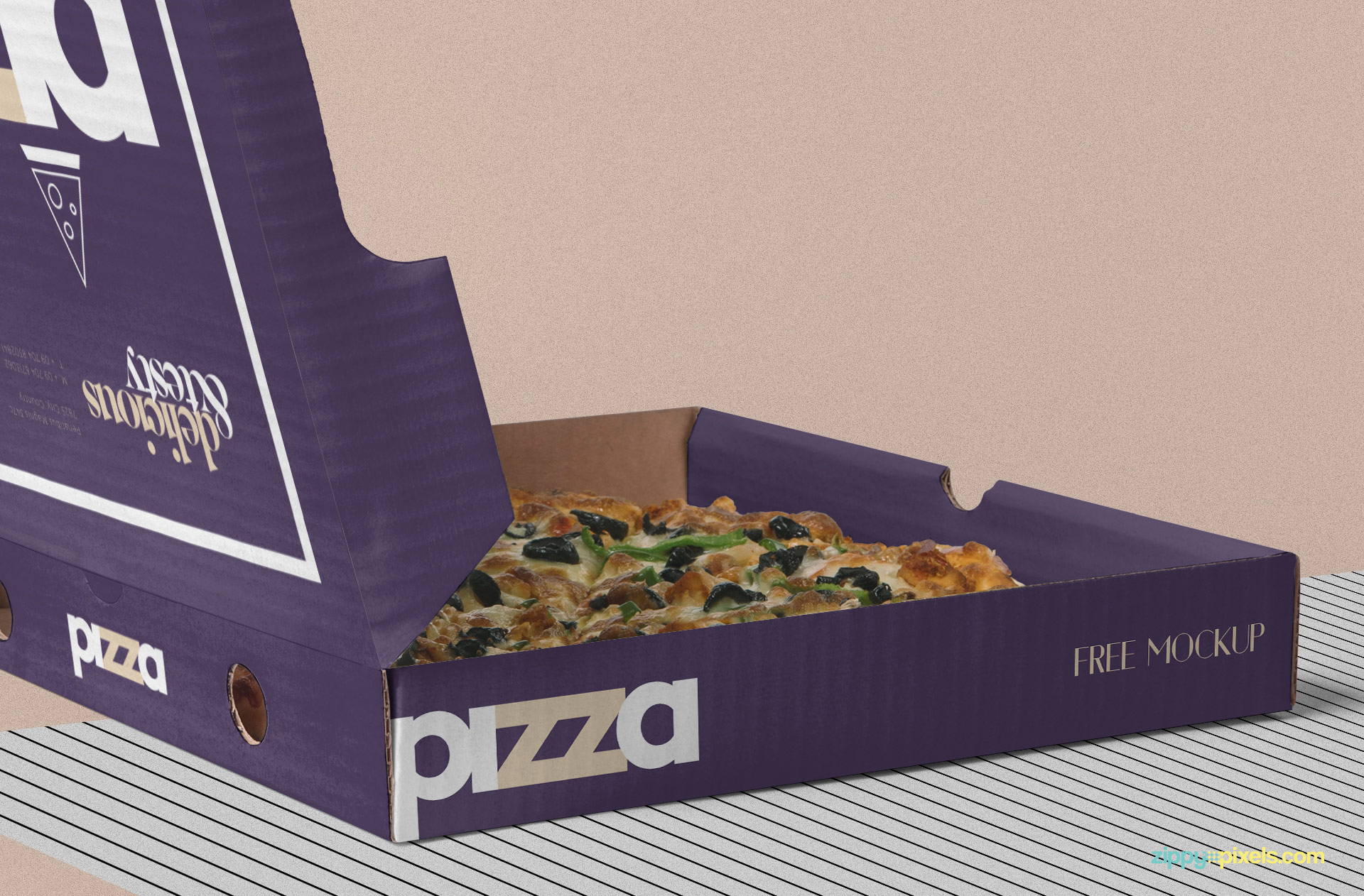 Delicious pizza placed in the box.