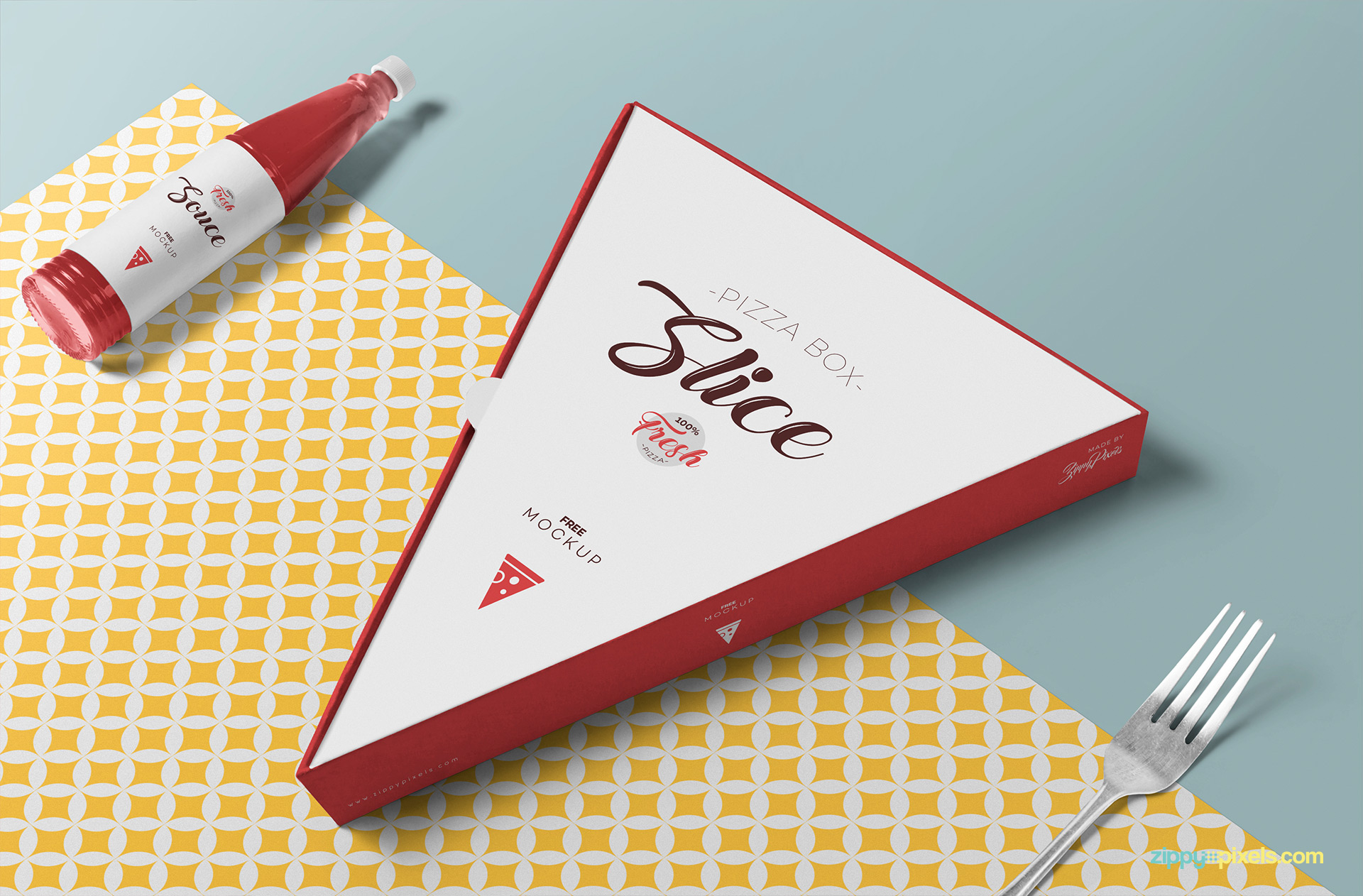 Free pizza slice box mockup PSD.