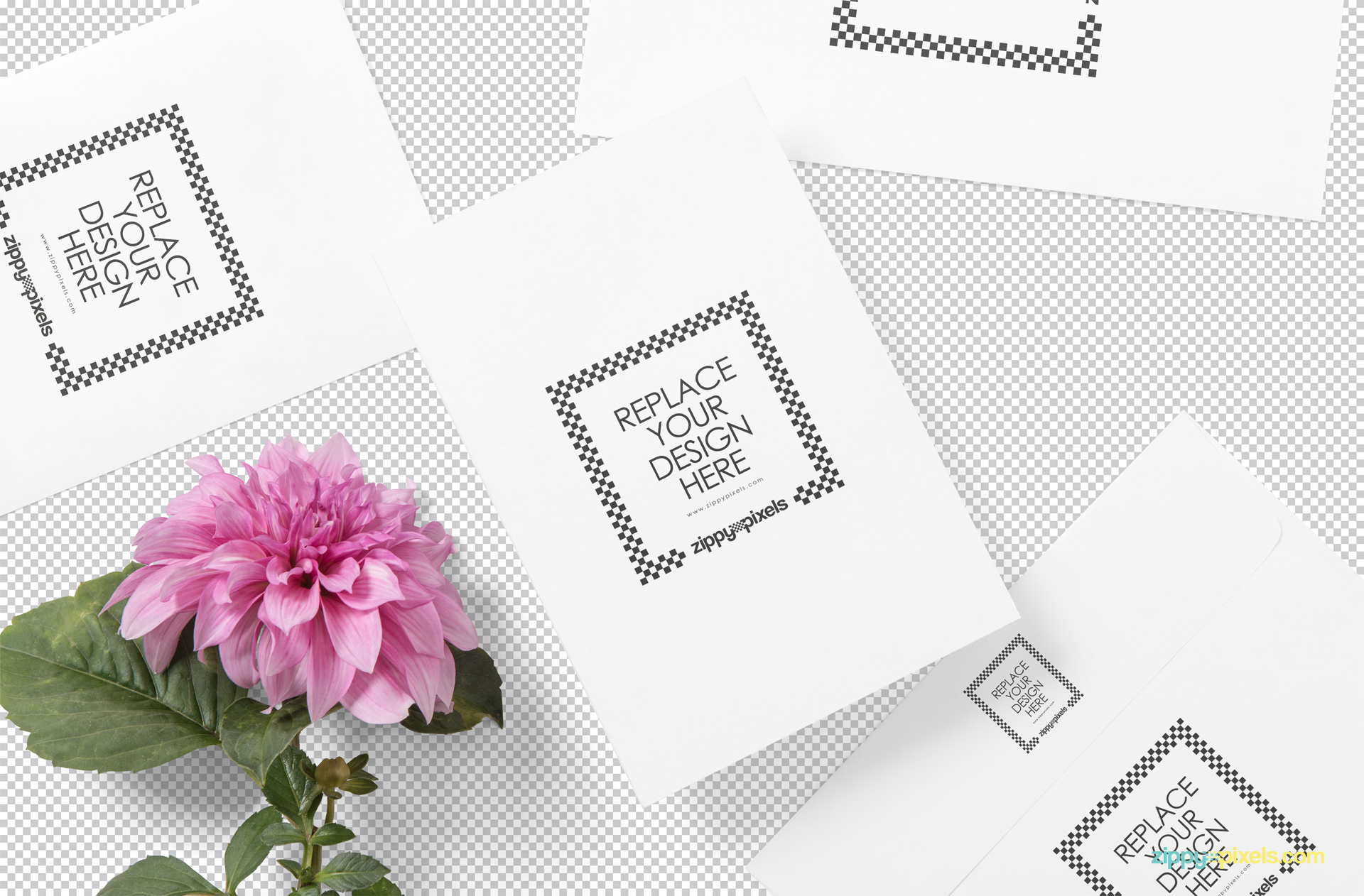 Customizable plain cards placed on greyscale.