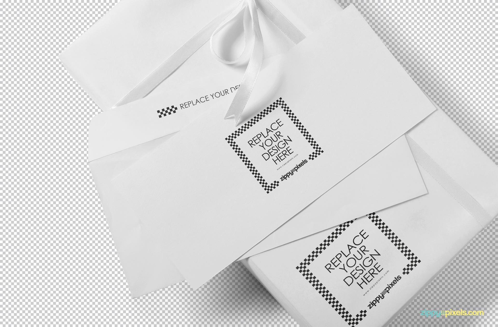 Plain envelope mockup isolated with greyscale background.