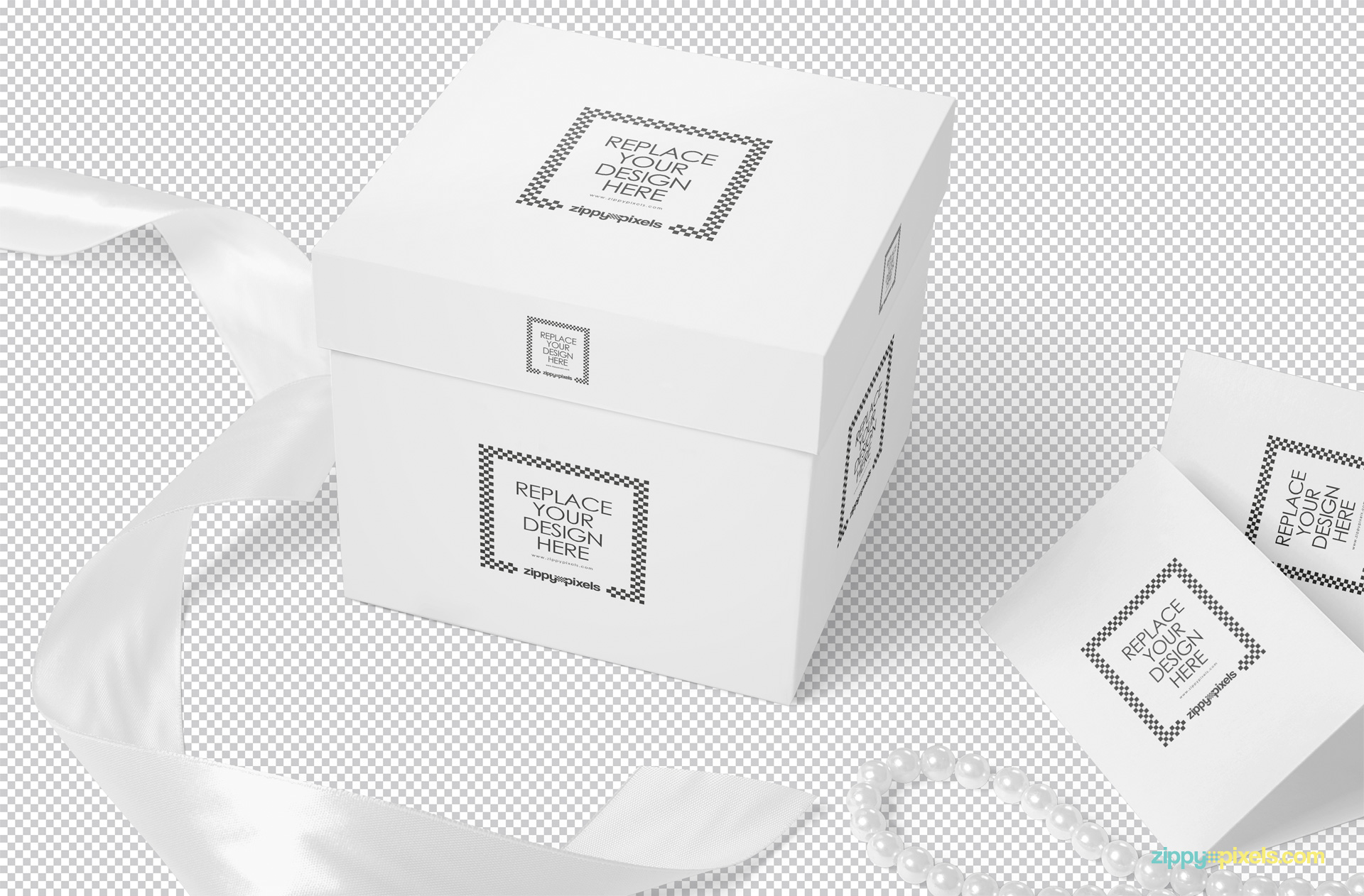 Plain gift mockup including gift box, card, necklace and ribbon.