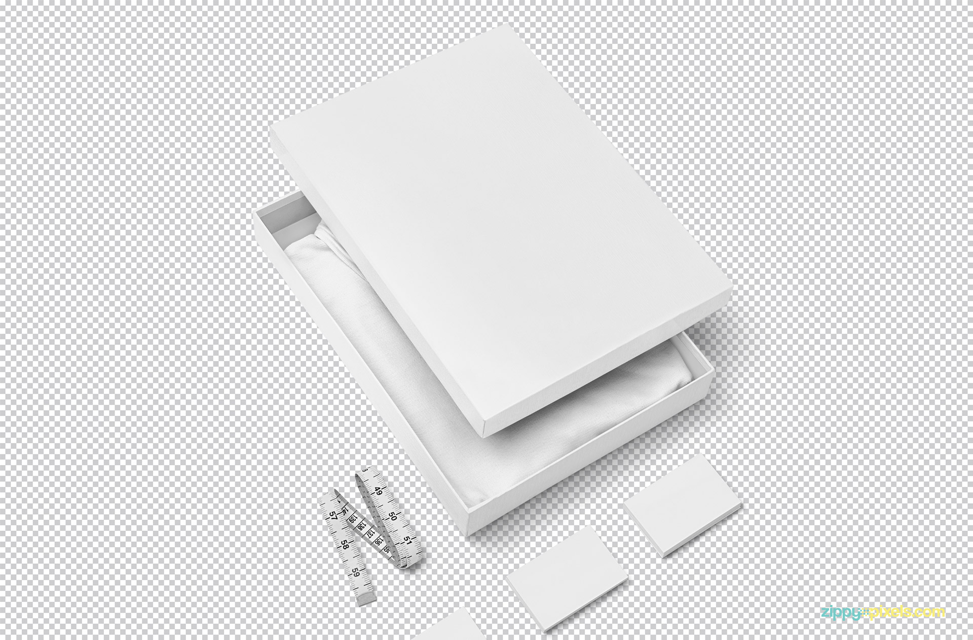 Plain white branding package mockup including t-shirt, box, business card and inches tape.
