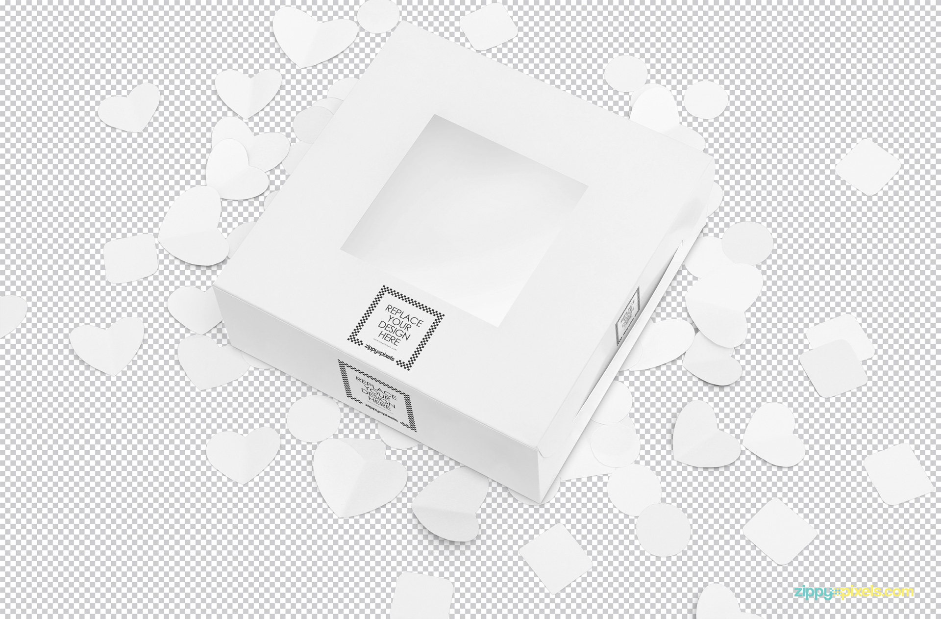 Plain white cake box placed on customizable background and paper shapes.