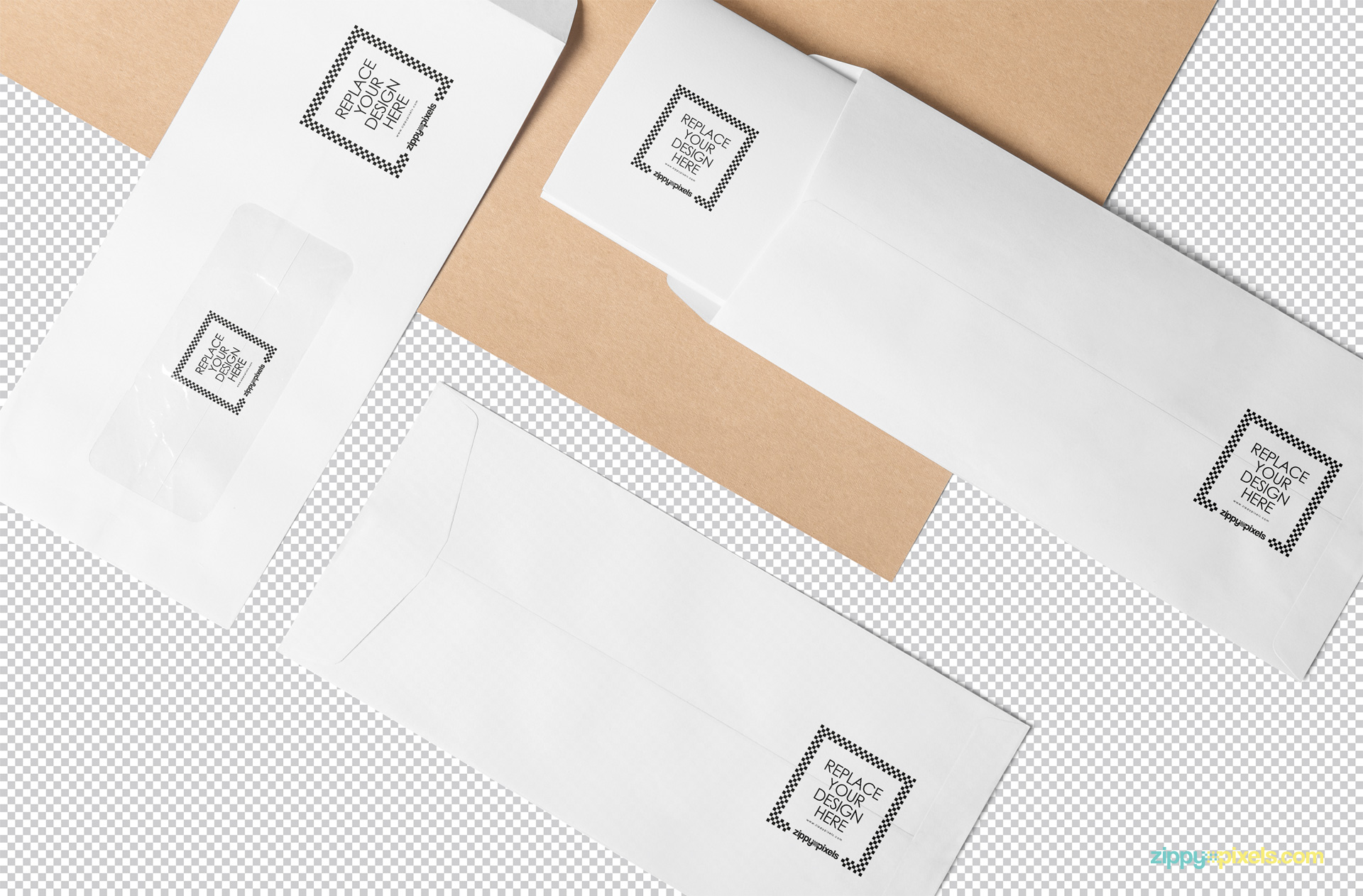 Three plain envelopes isolated with the greyscale background.