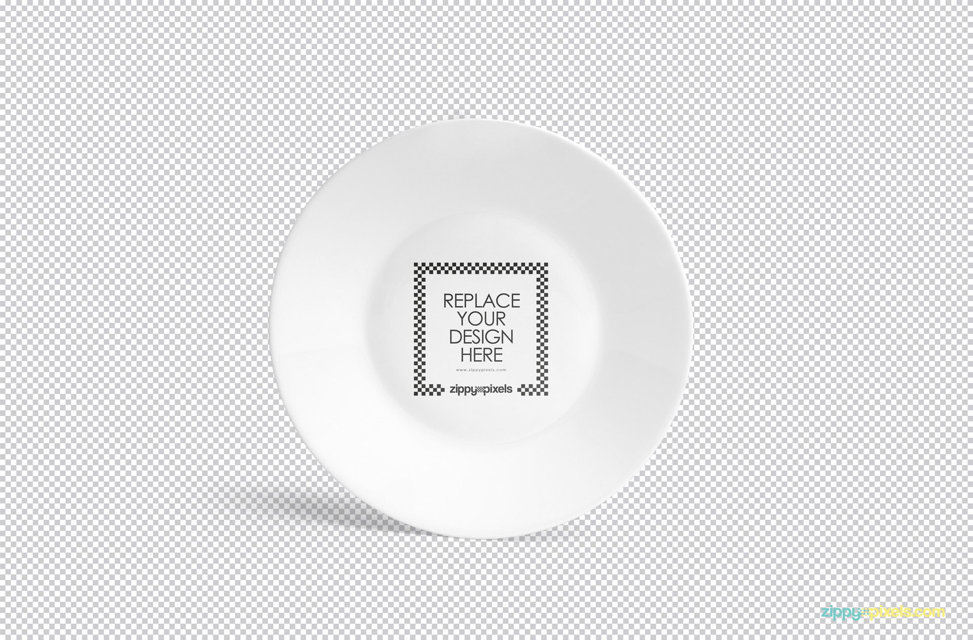 Use Photoshop to customize this free white plate mockup.