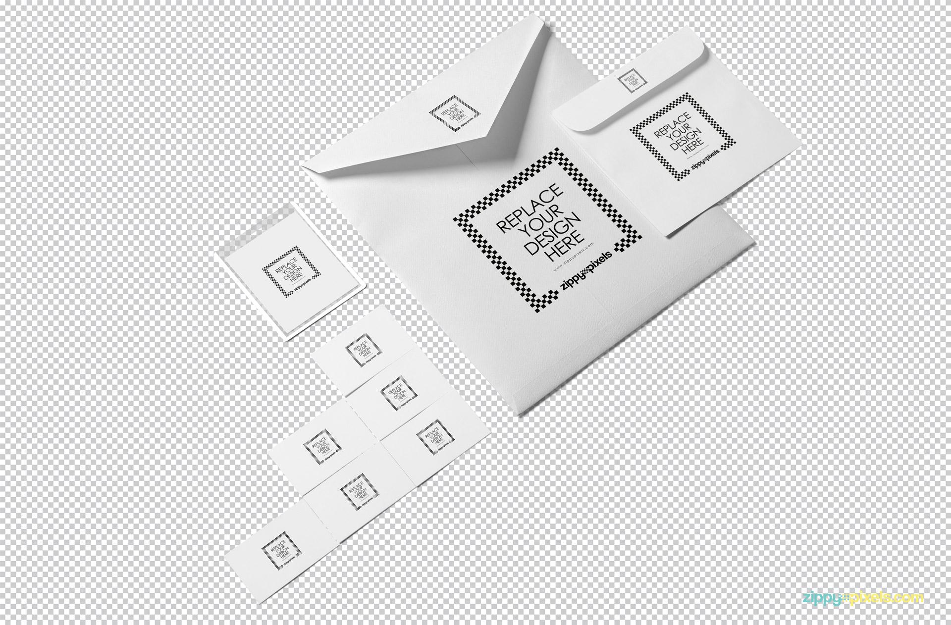 Plain white stationery mockup isolated with the greyscale background.