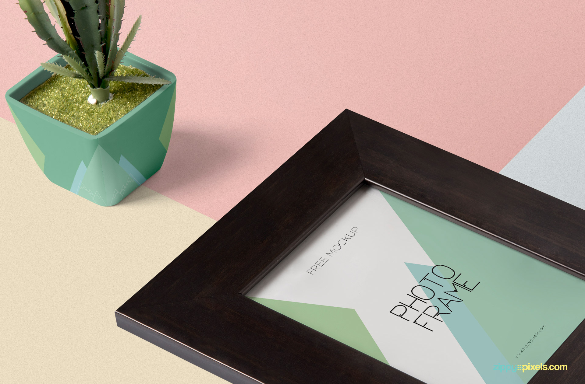 Customizable plant pot is placed beside frame mockup.
