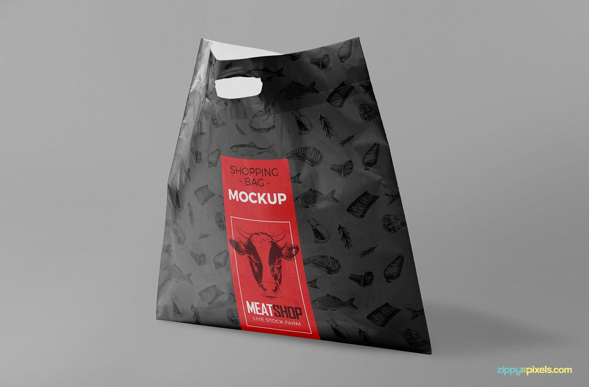 Standing plastic bag mockup free PSD.