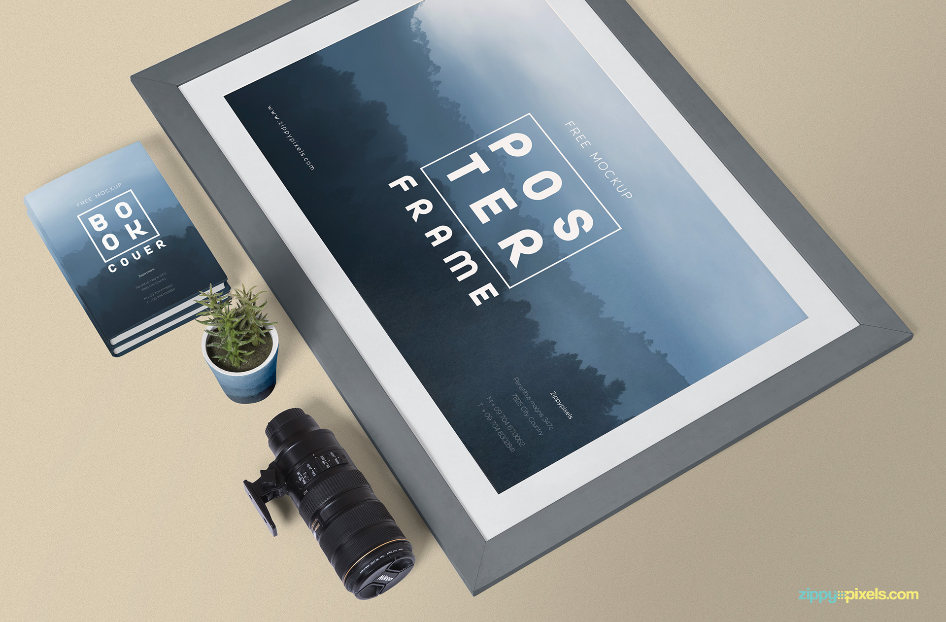 Fully customizable poster mockup free psd.
