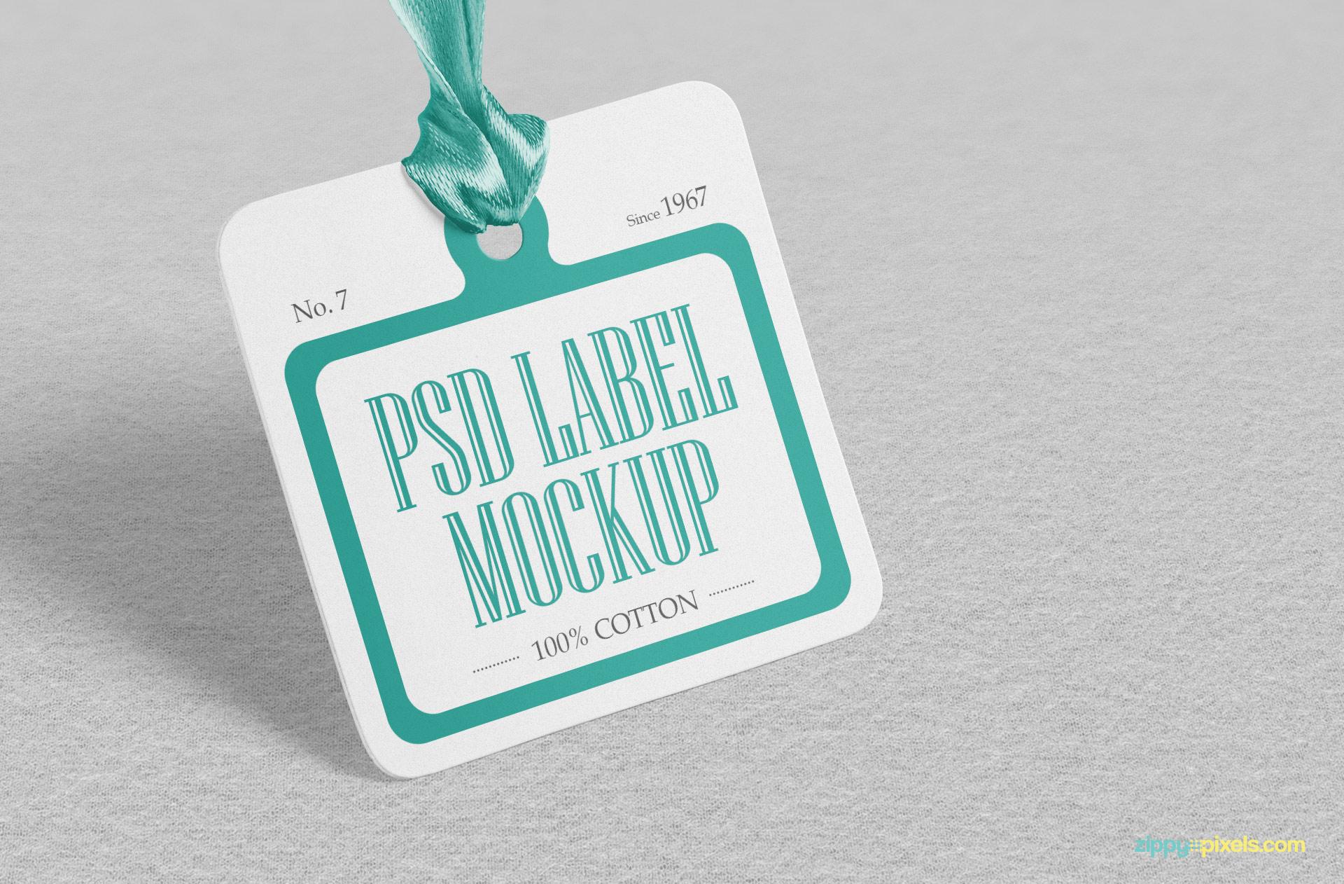 Square shaped PSD label mockup.