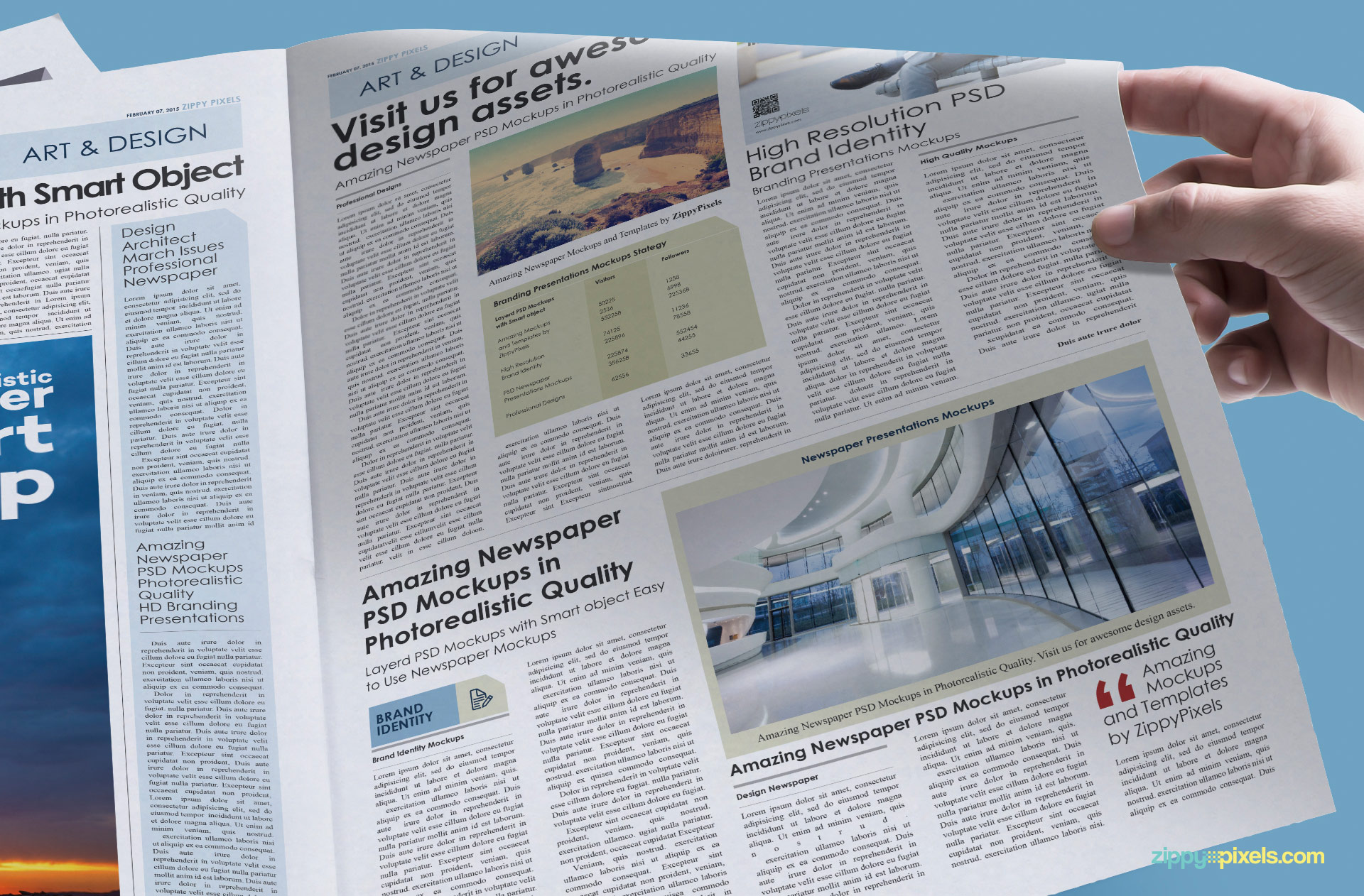 Half turned page of realistic news ad mockup.