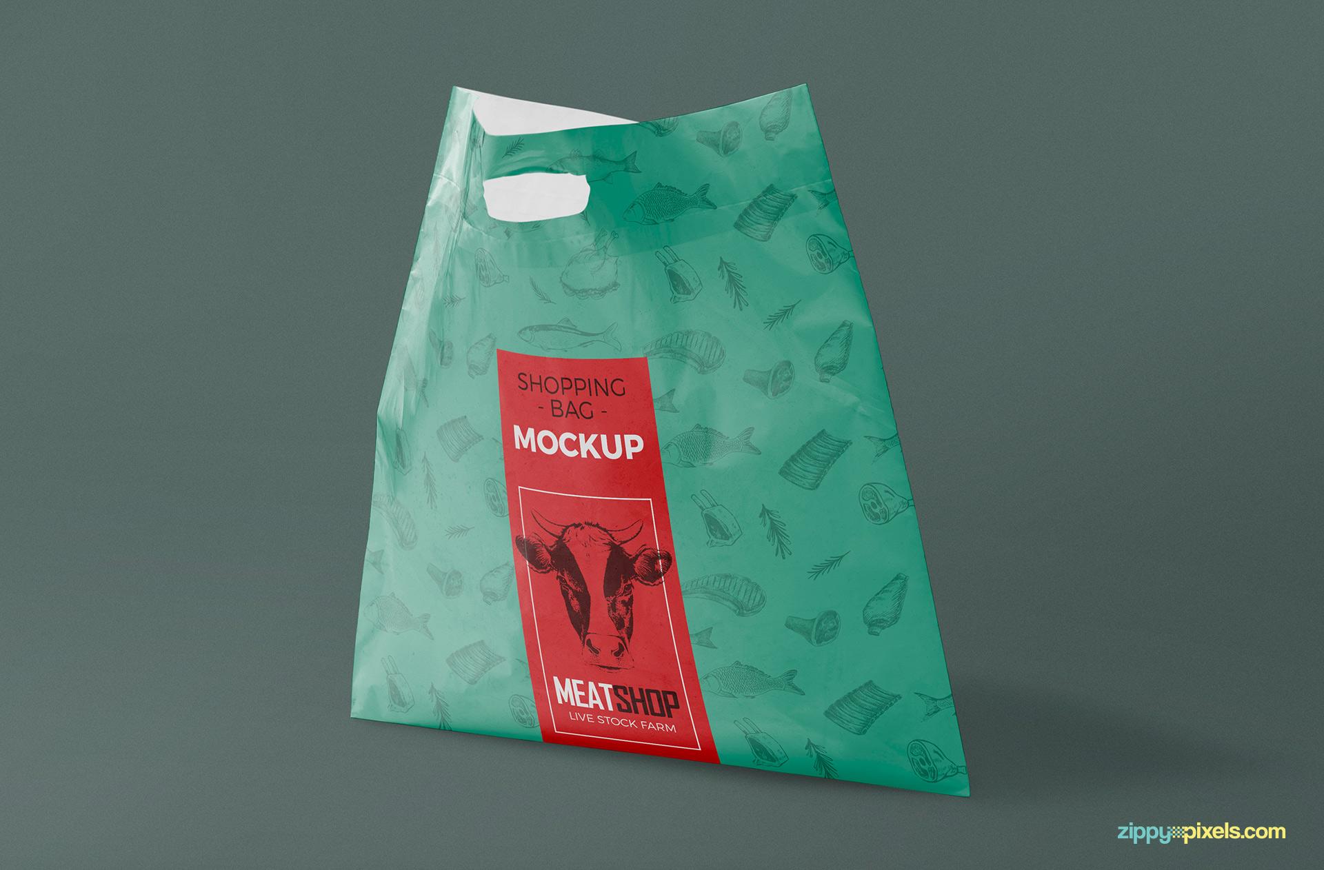 Realistic plastic bag mockup.
