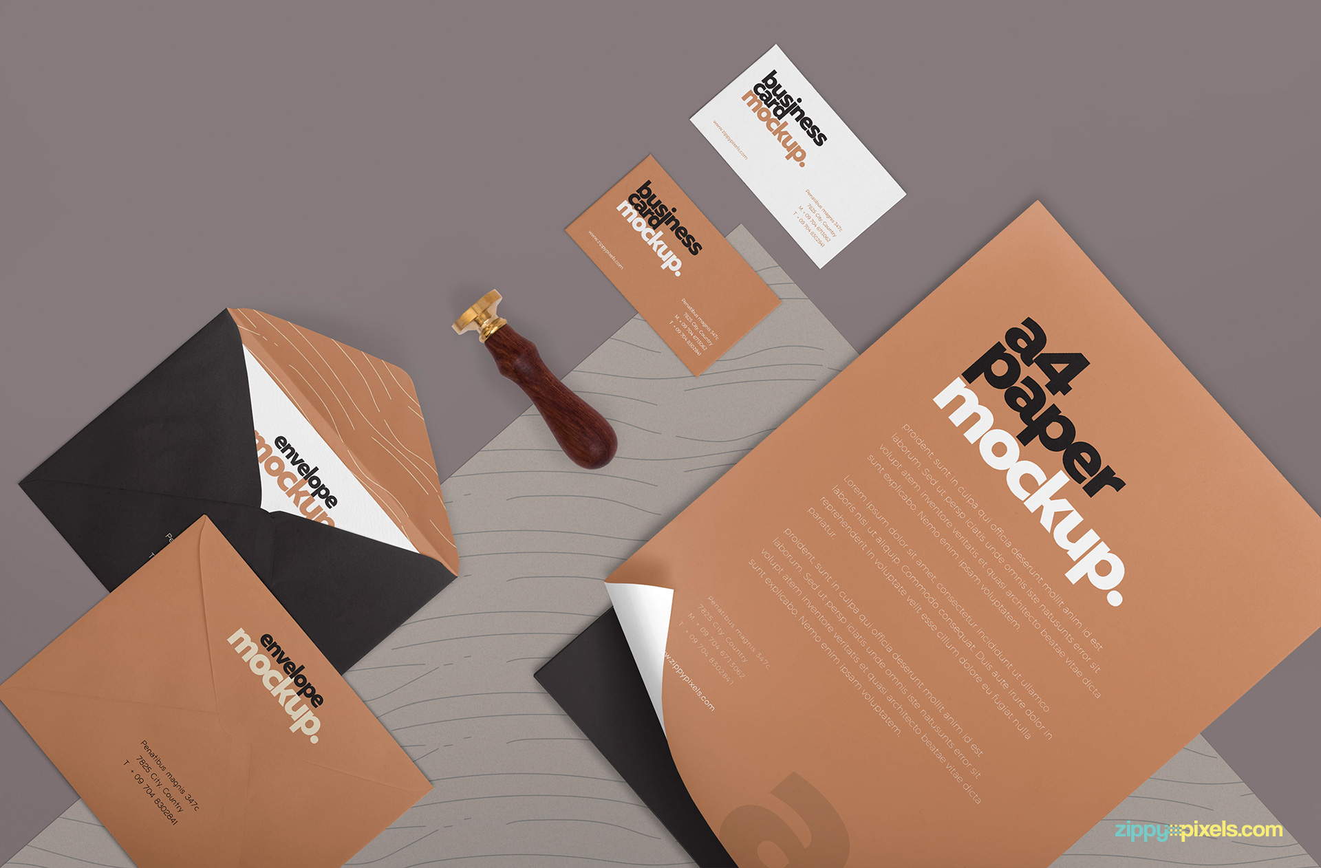 Realistic effects of the stationery mockup.