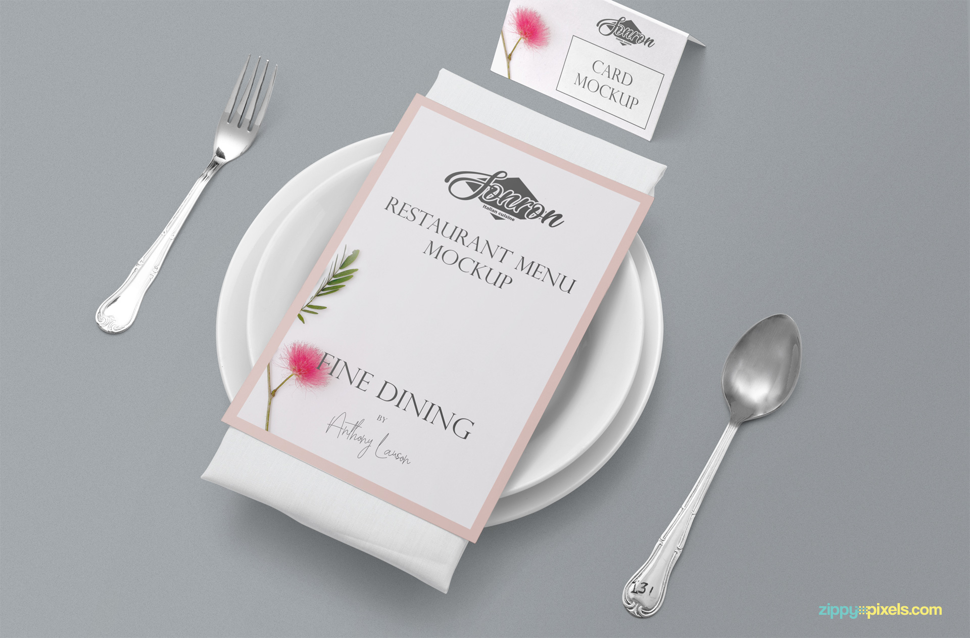 Free restaurant menu card mockup.