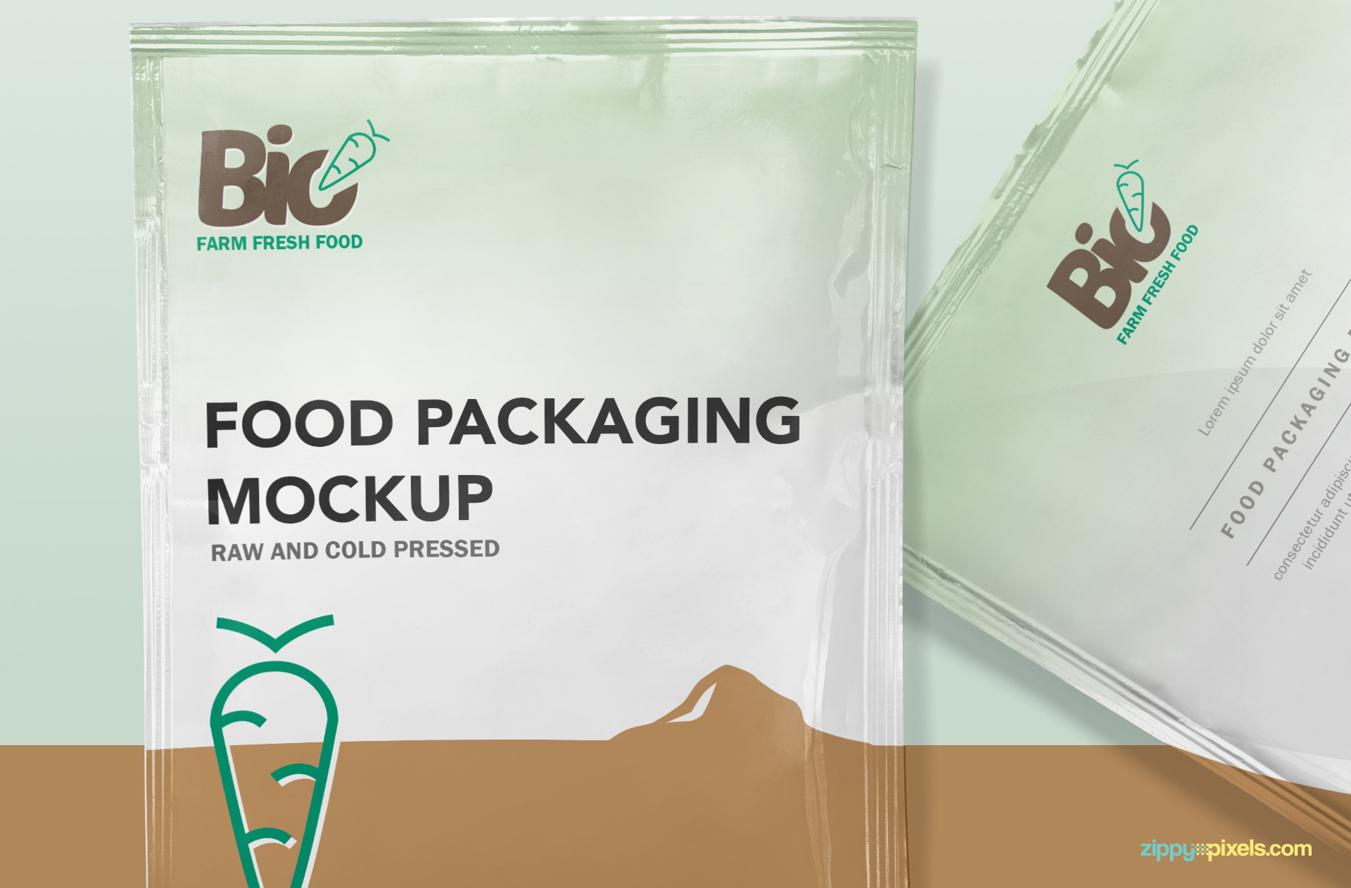 Free sachet packaging mockup.