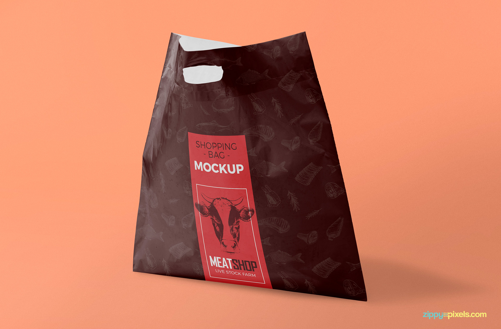 Free shopping bag mockup.