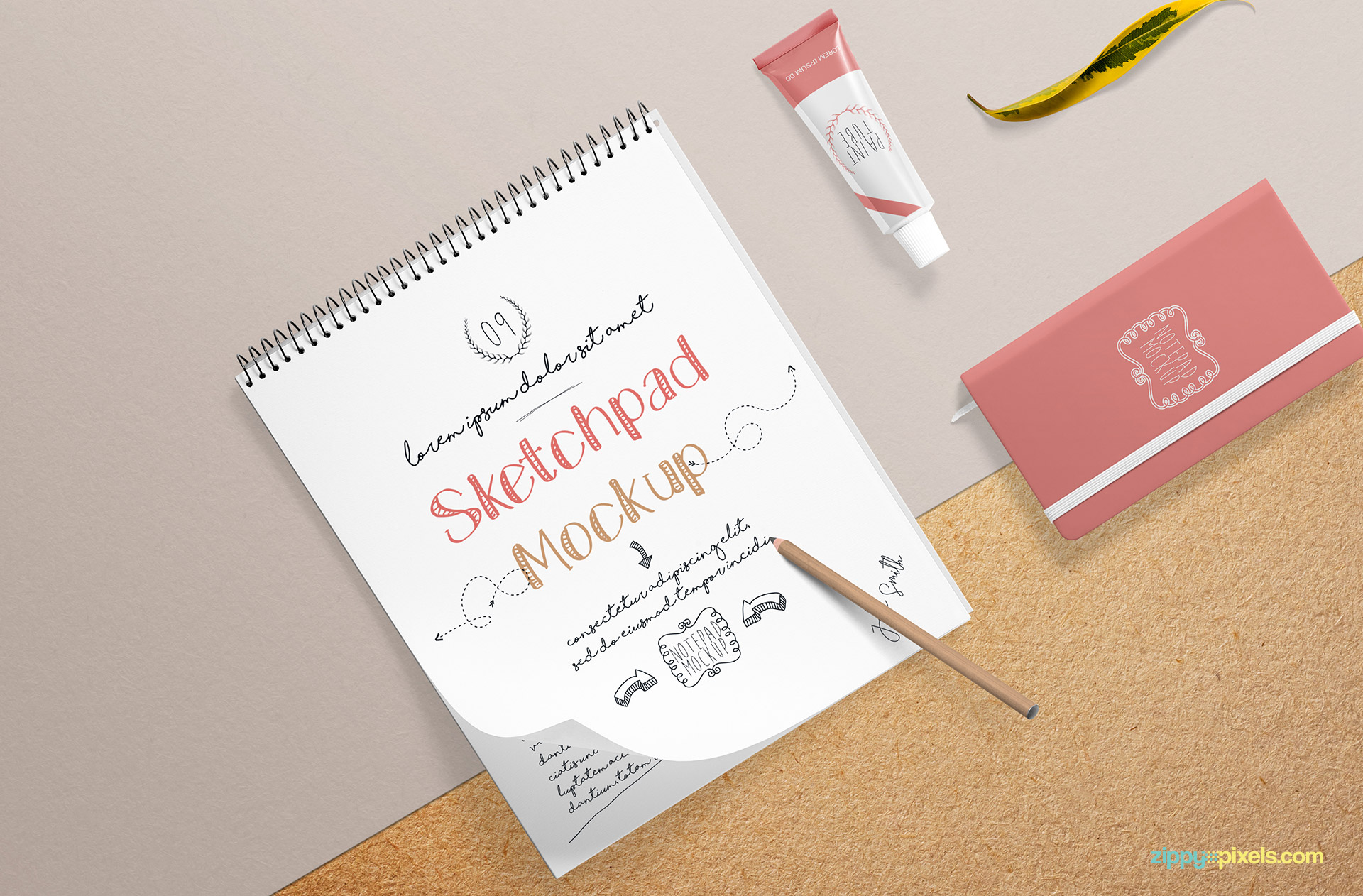 Free realistic sketch book mockup.