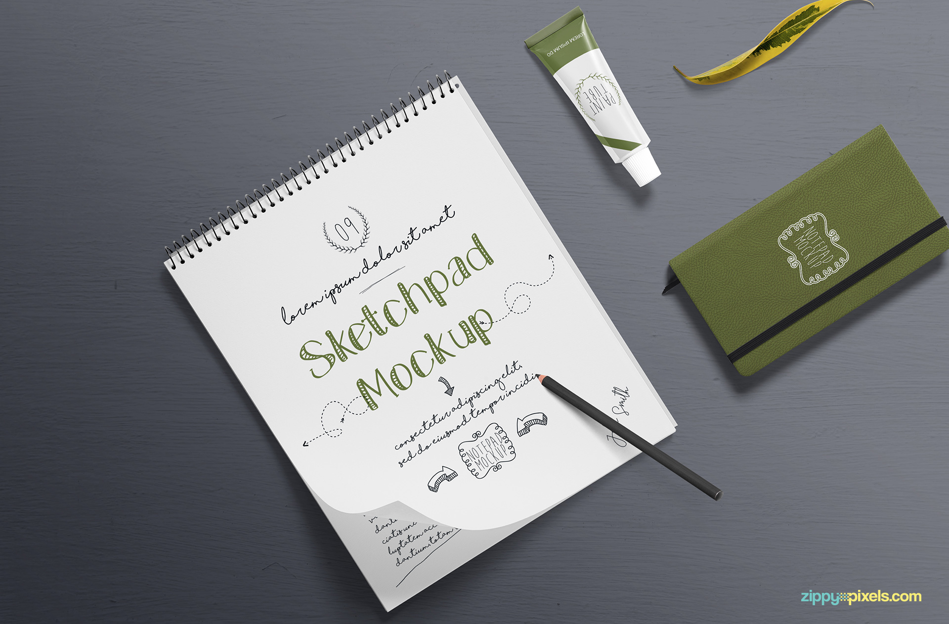 Sketchpad mockup with smart object feature.