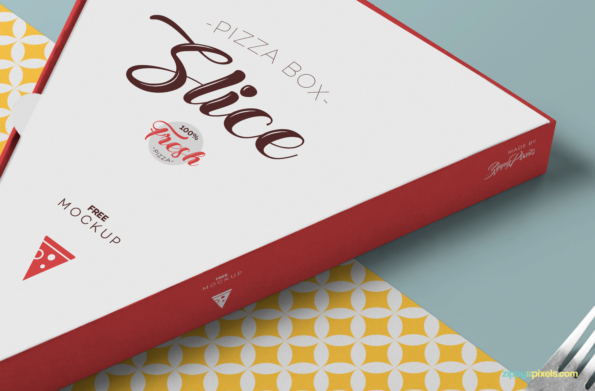 Top and side design of pizza slice box mockup have separate smart object option.