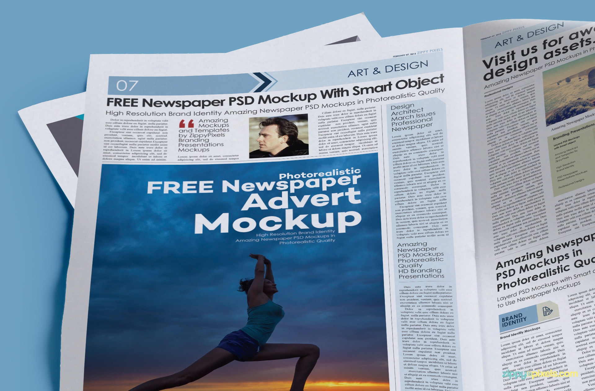 Customize the full page of newspaper with smart object option.