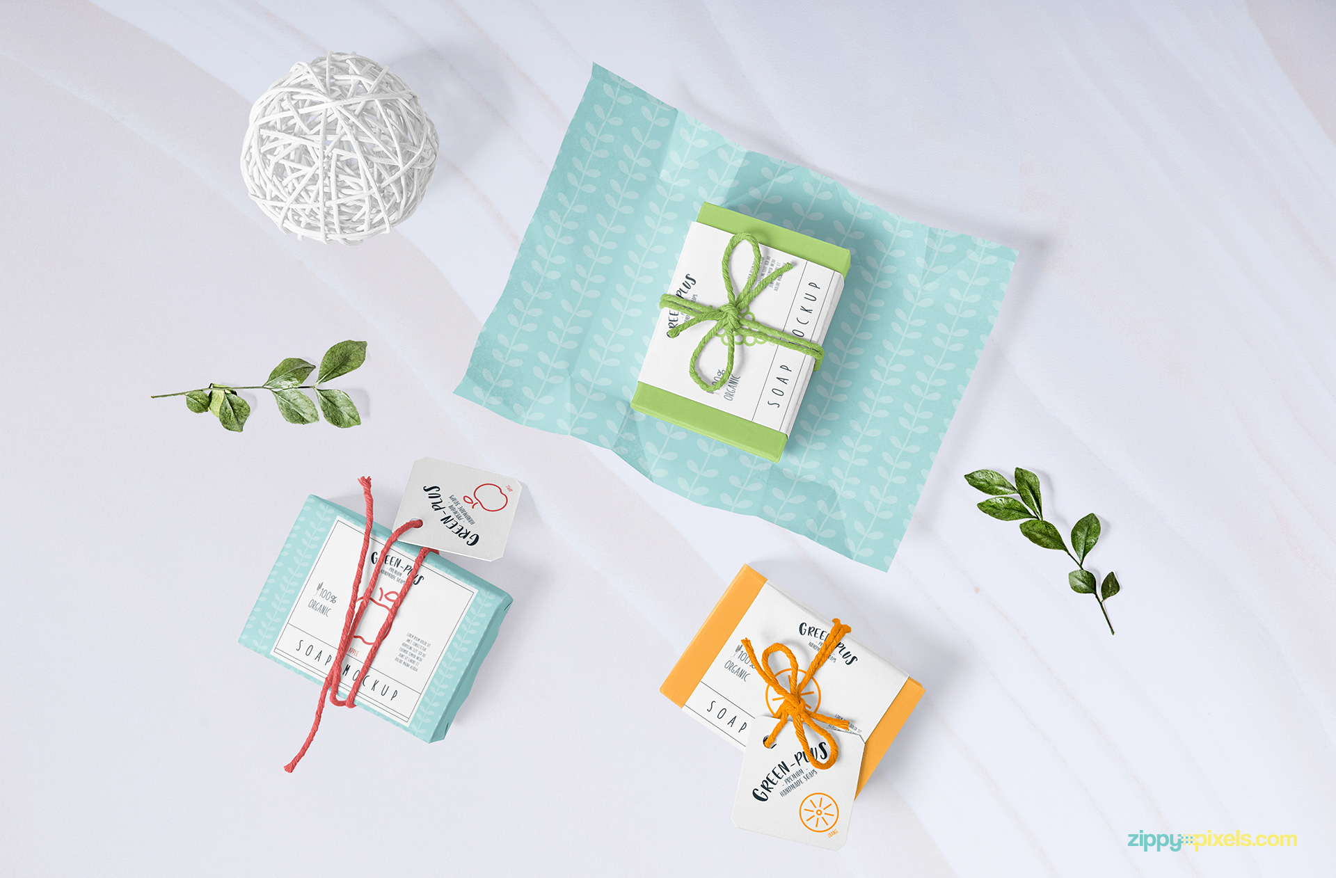 Craft soap mockup free PSD.
