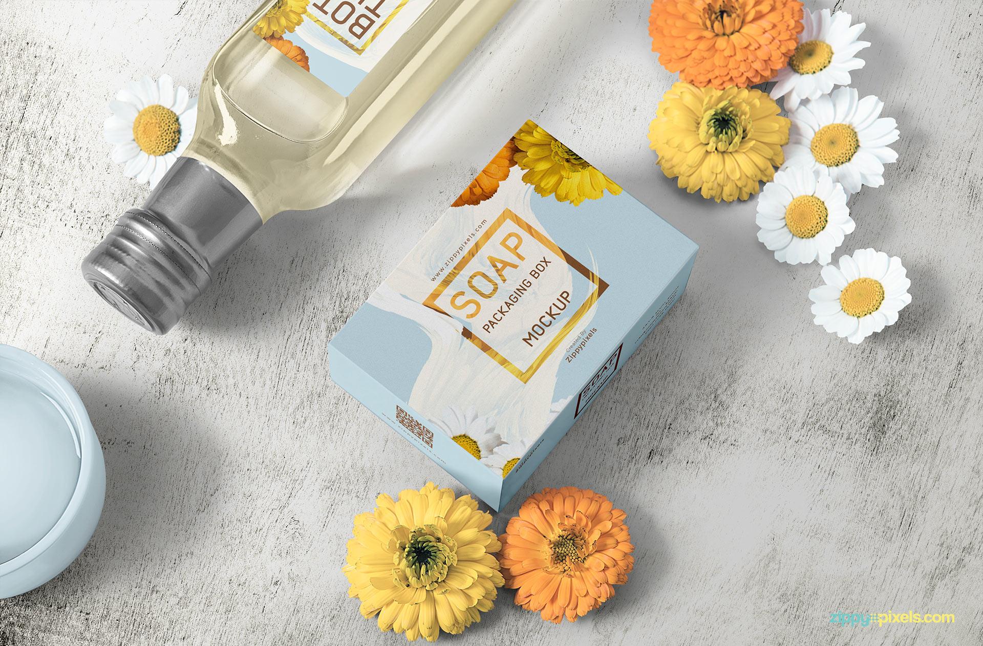 Gorgeous soap packaging box mockup scene.