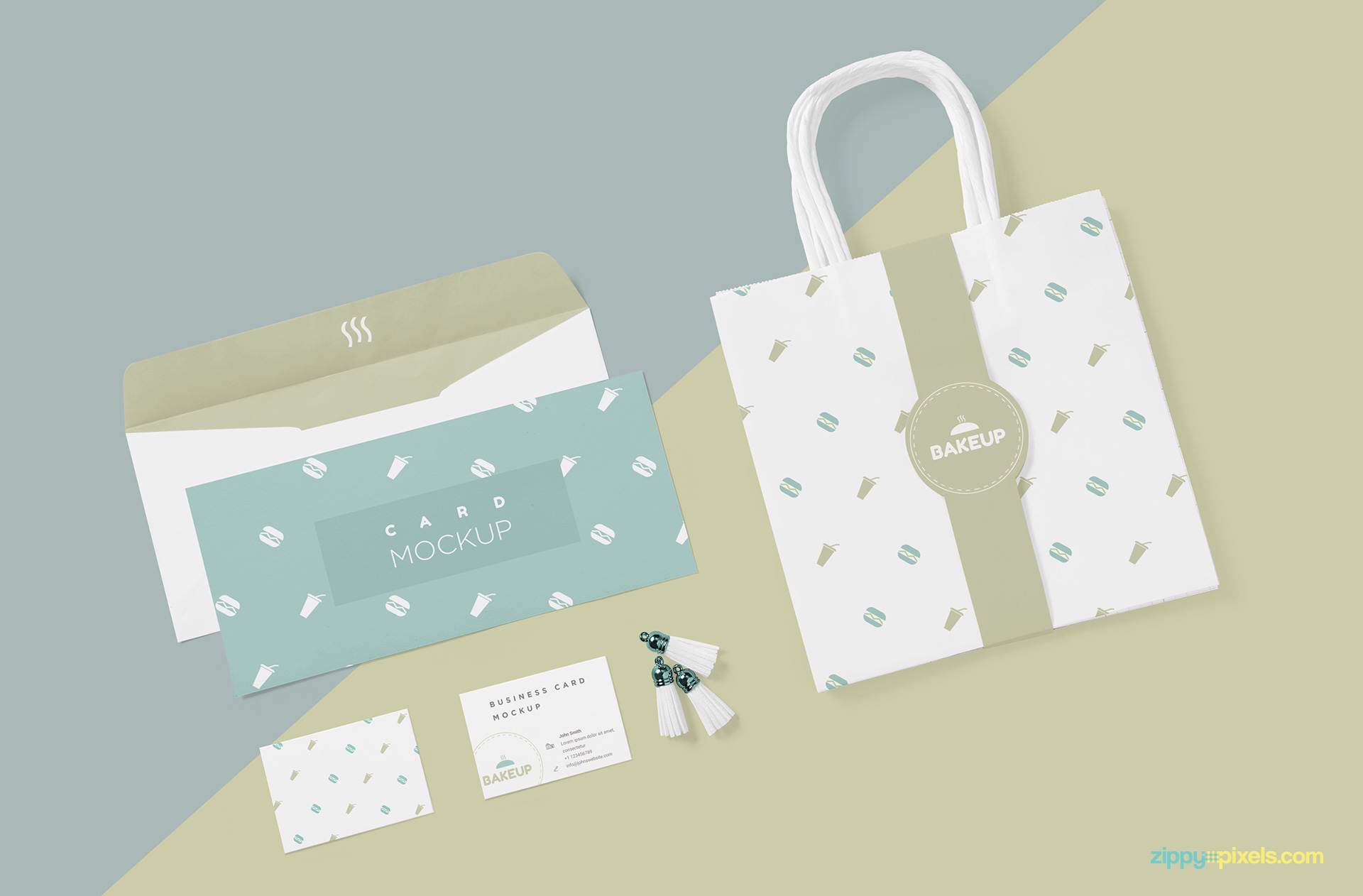 Stationery and packaging mockup in single scene.