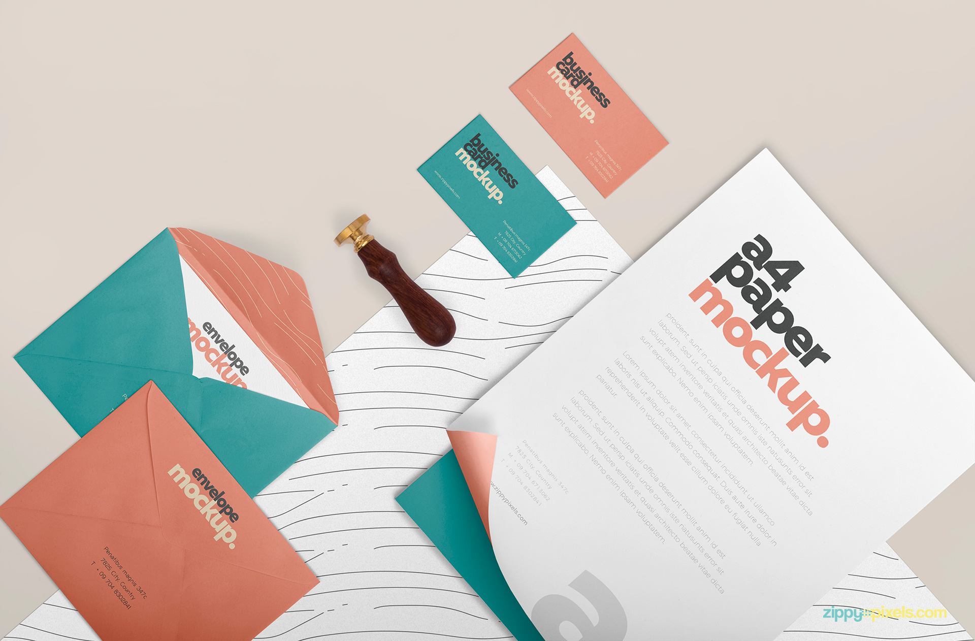 This Stationery mockup has separate smart objects for all items.