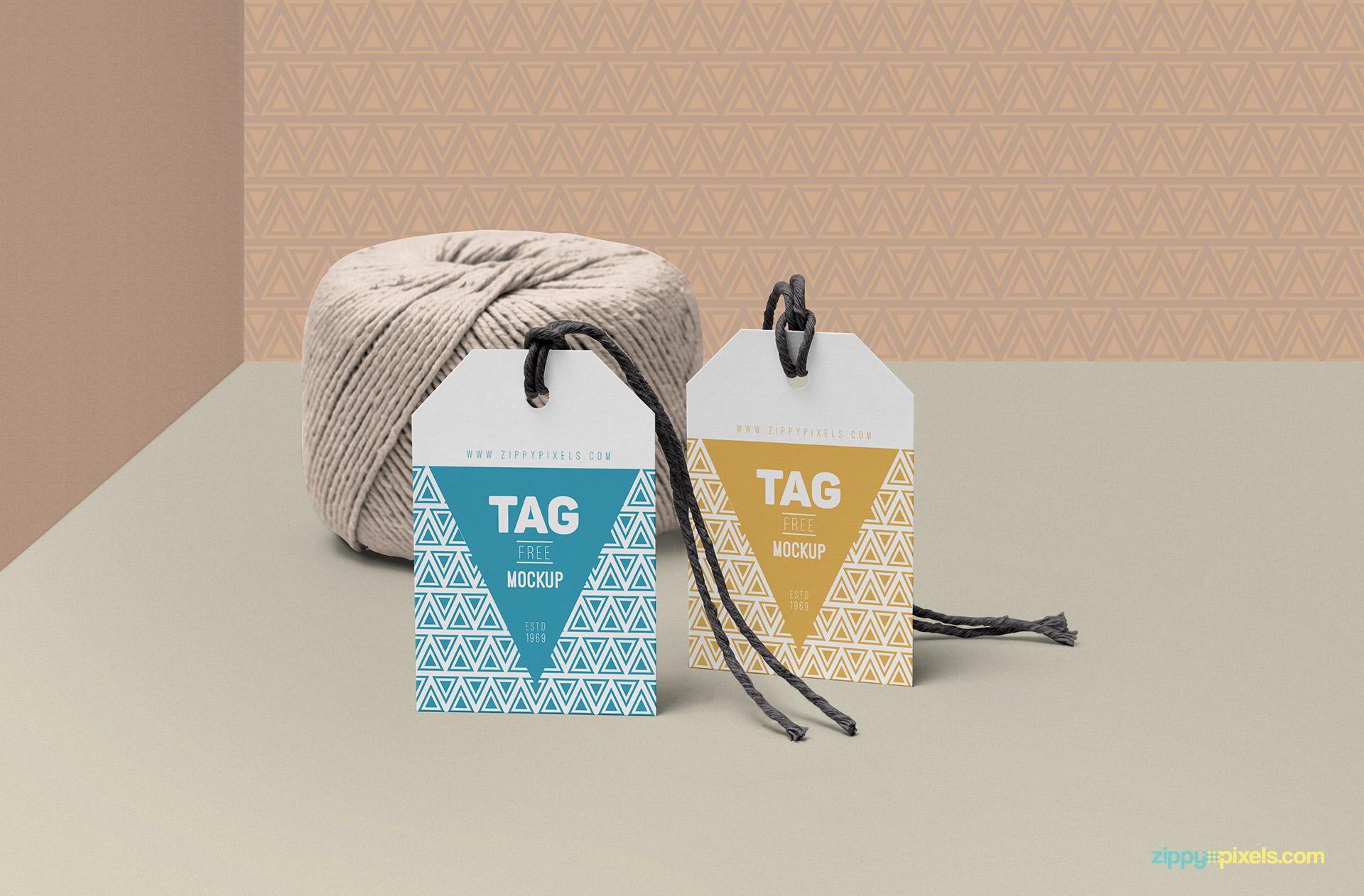 String tag mockup PSD free.