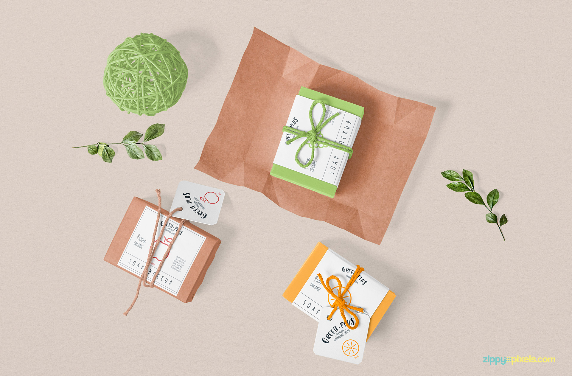 Three different craft soap packaging mockup.