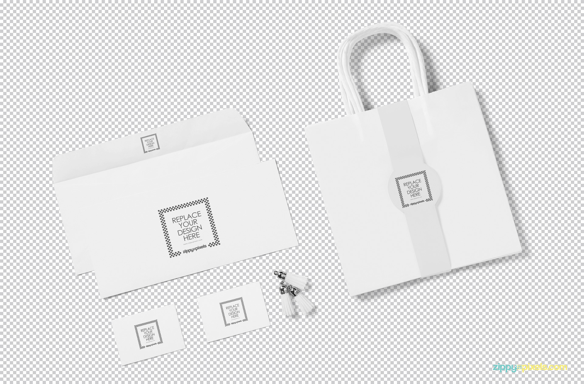 Plain white tote bag mockup scene showing replaceable design option.