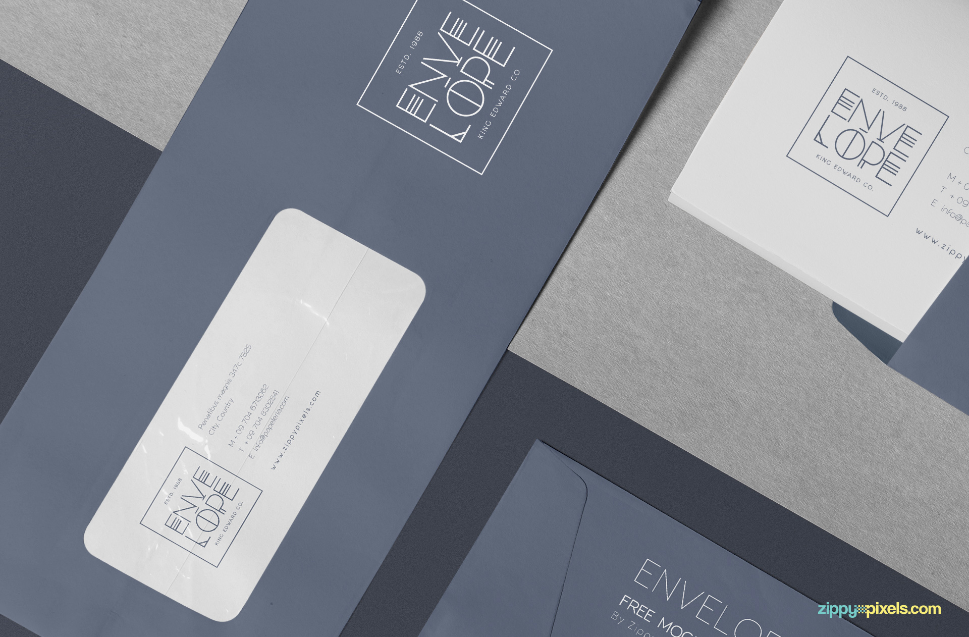 Transparent area of envelope mockup showing letterhead.