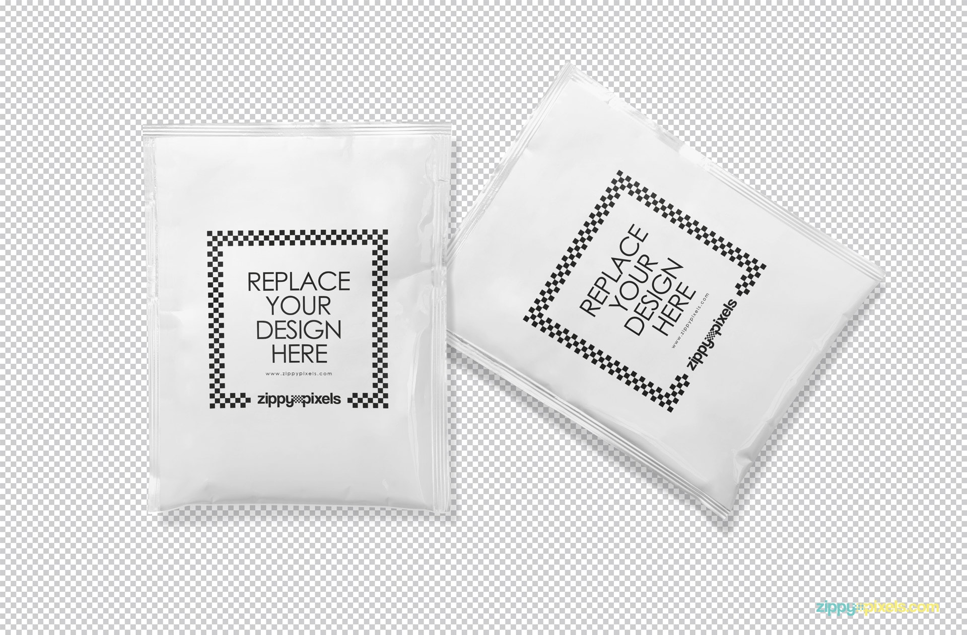 Two plain sachets isolated with the greyscale background.