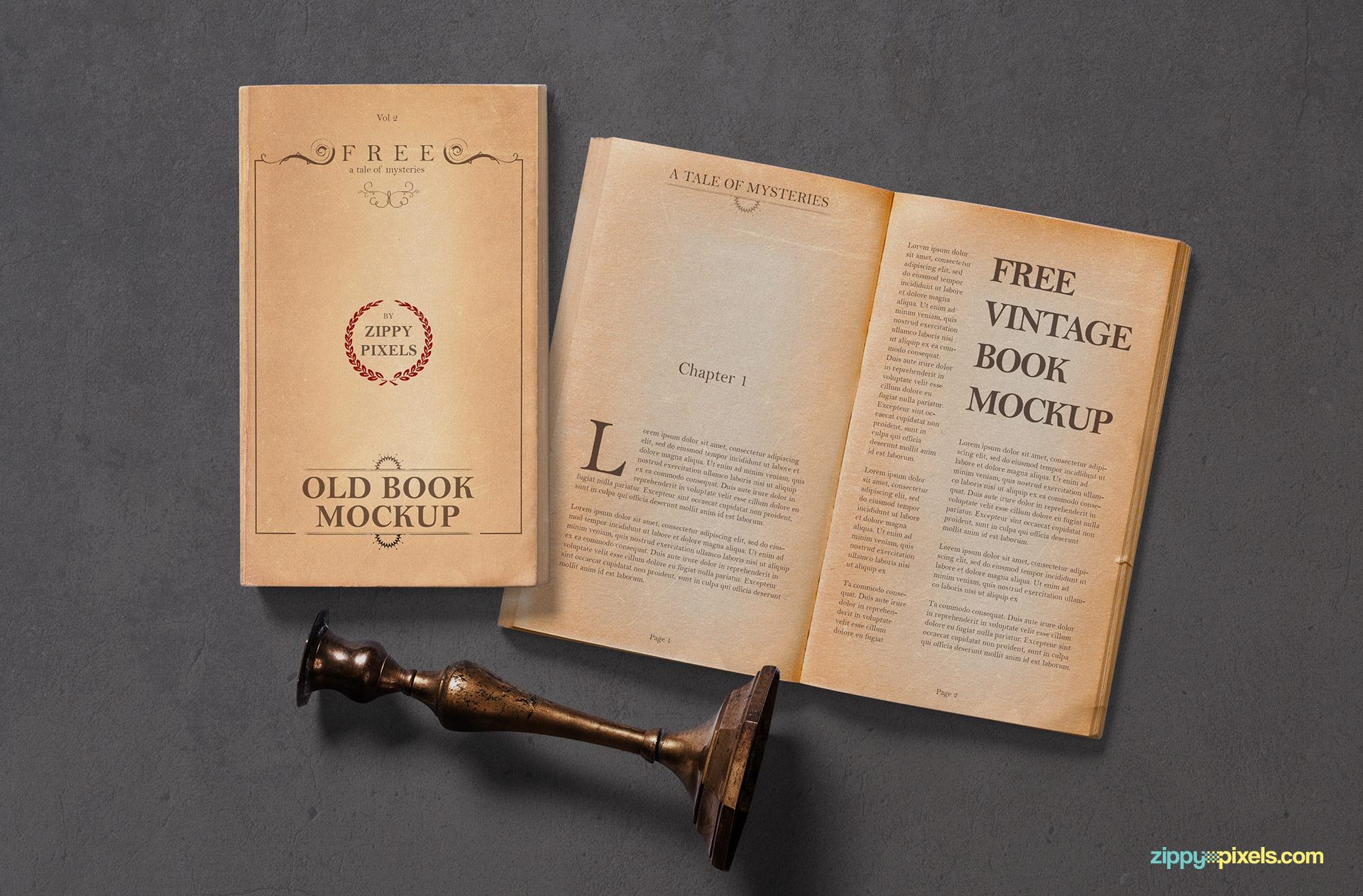Free vintage book mockup.