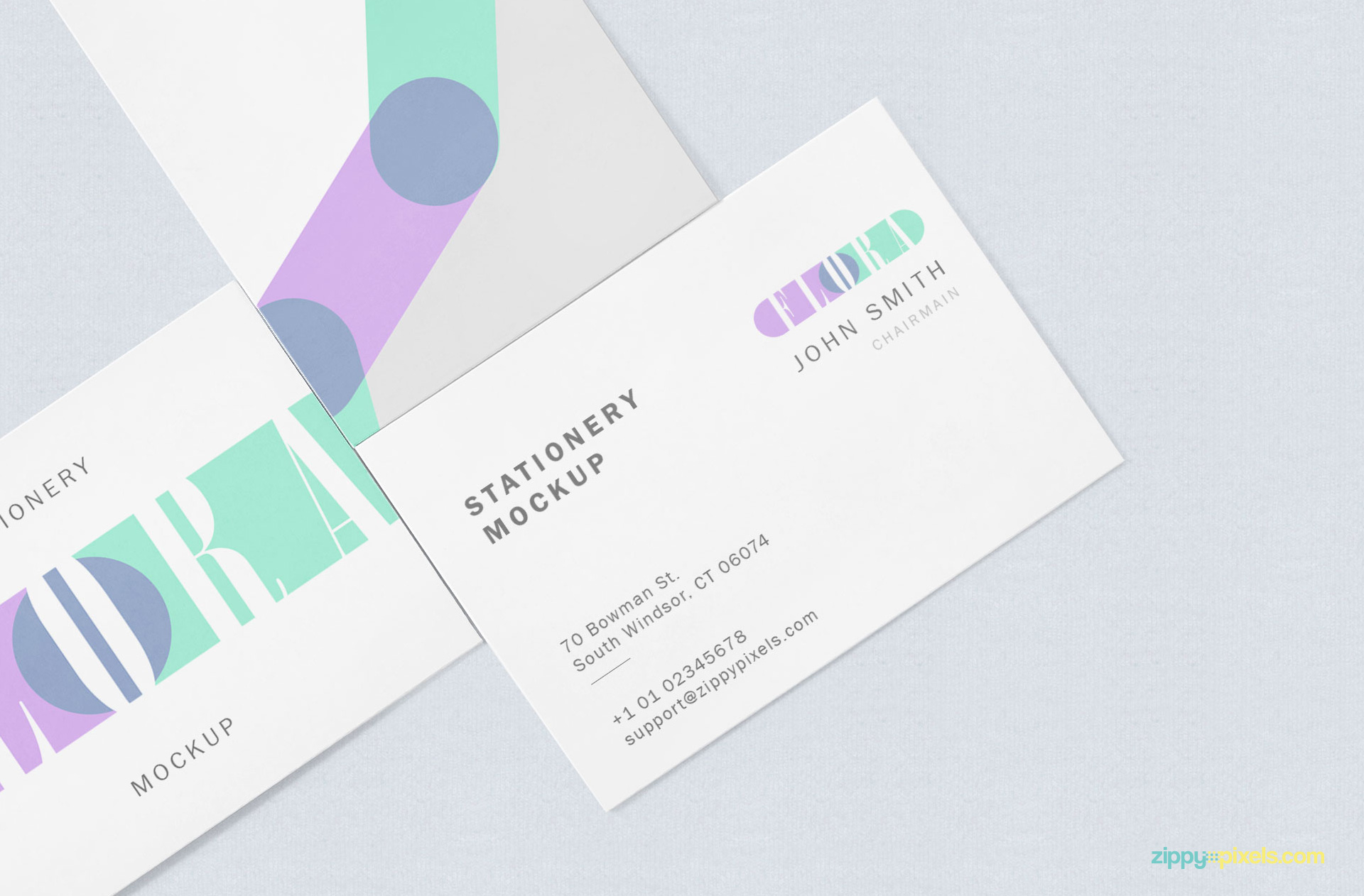 Zoom in view of visiting card mockup.