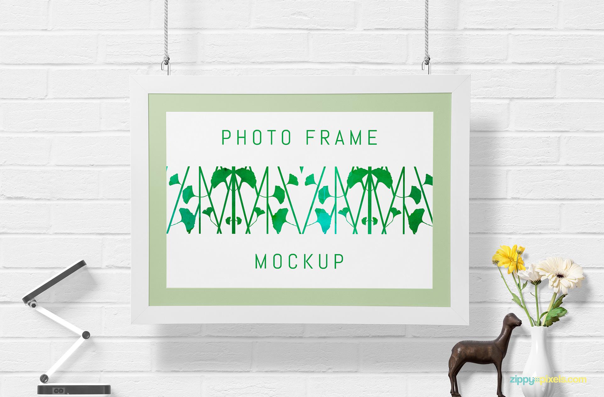 Free wall frame mockup.