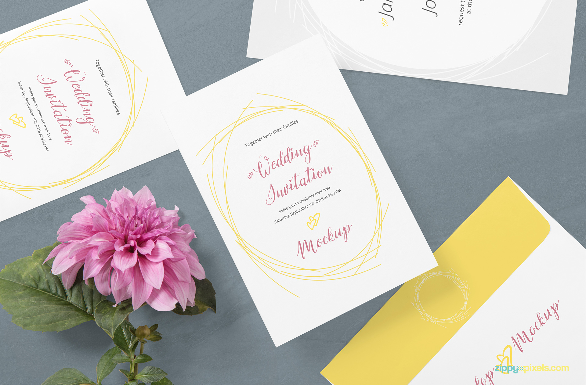 Wedding invitation mockup including 3 cards and one envelope.
