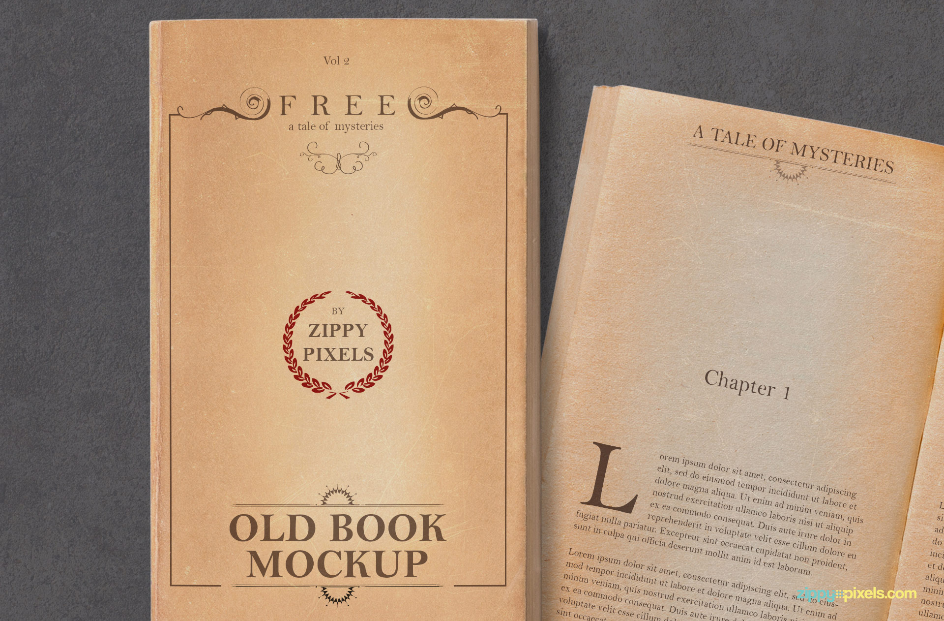 Realistic yellowed book cover mockup.