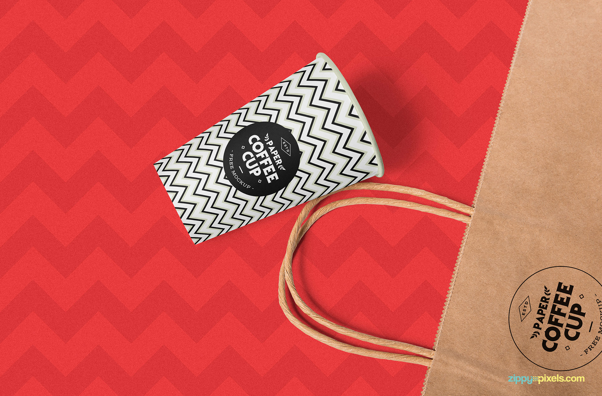 Amazing zig zag background of the cup mockup PSD.