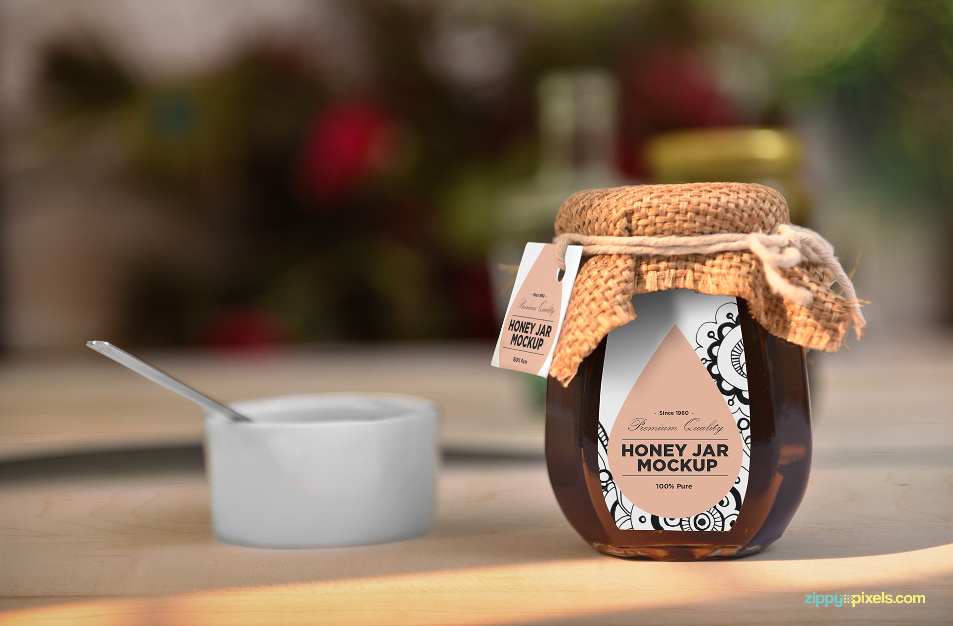 Attractive honey jar mockup.